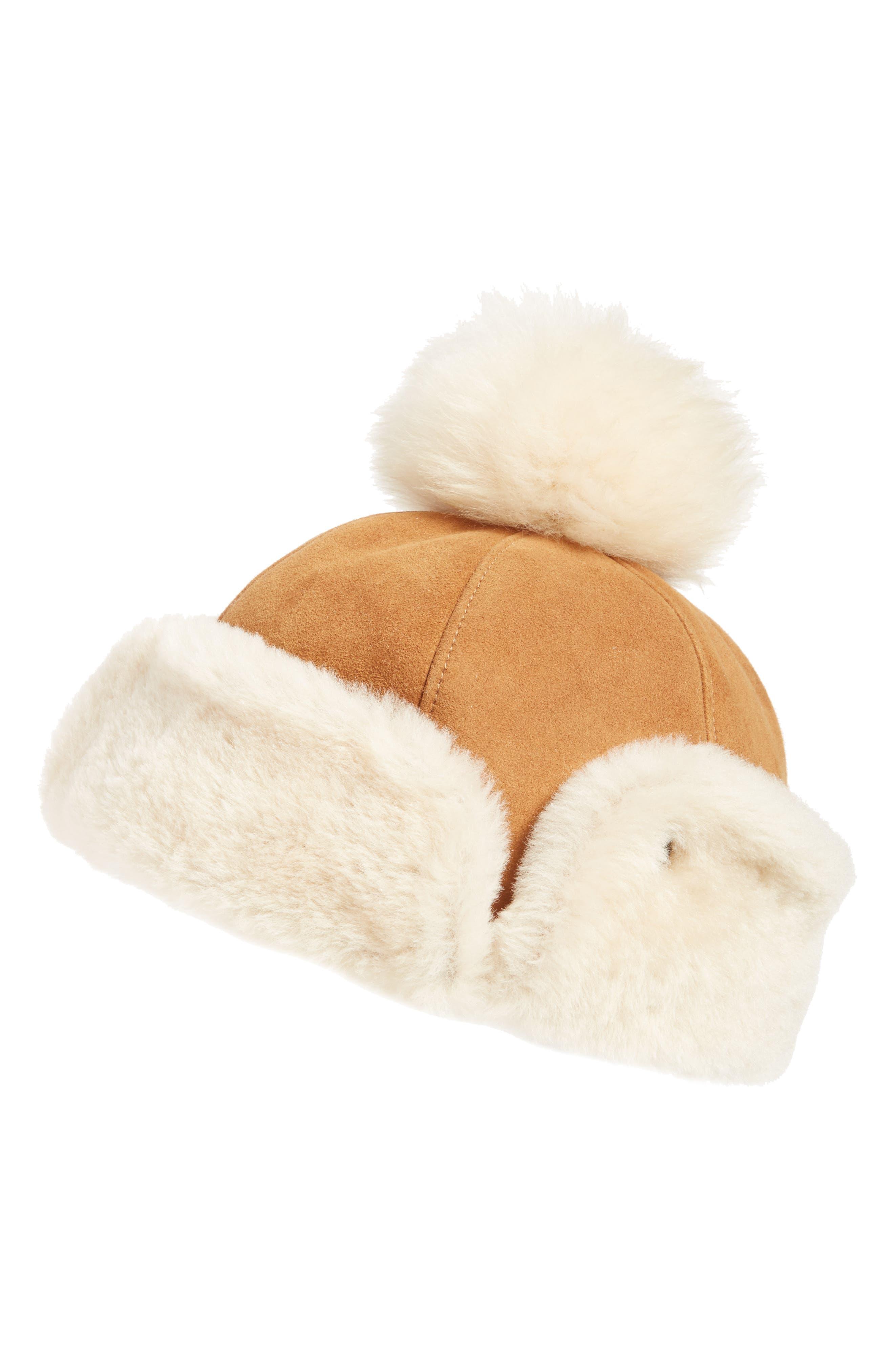 Main Image - UGG® Genuine Shearling Pom Hat