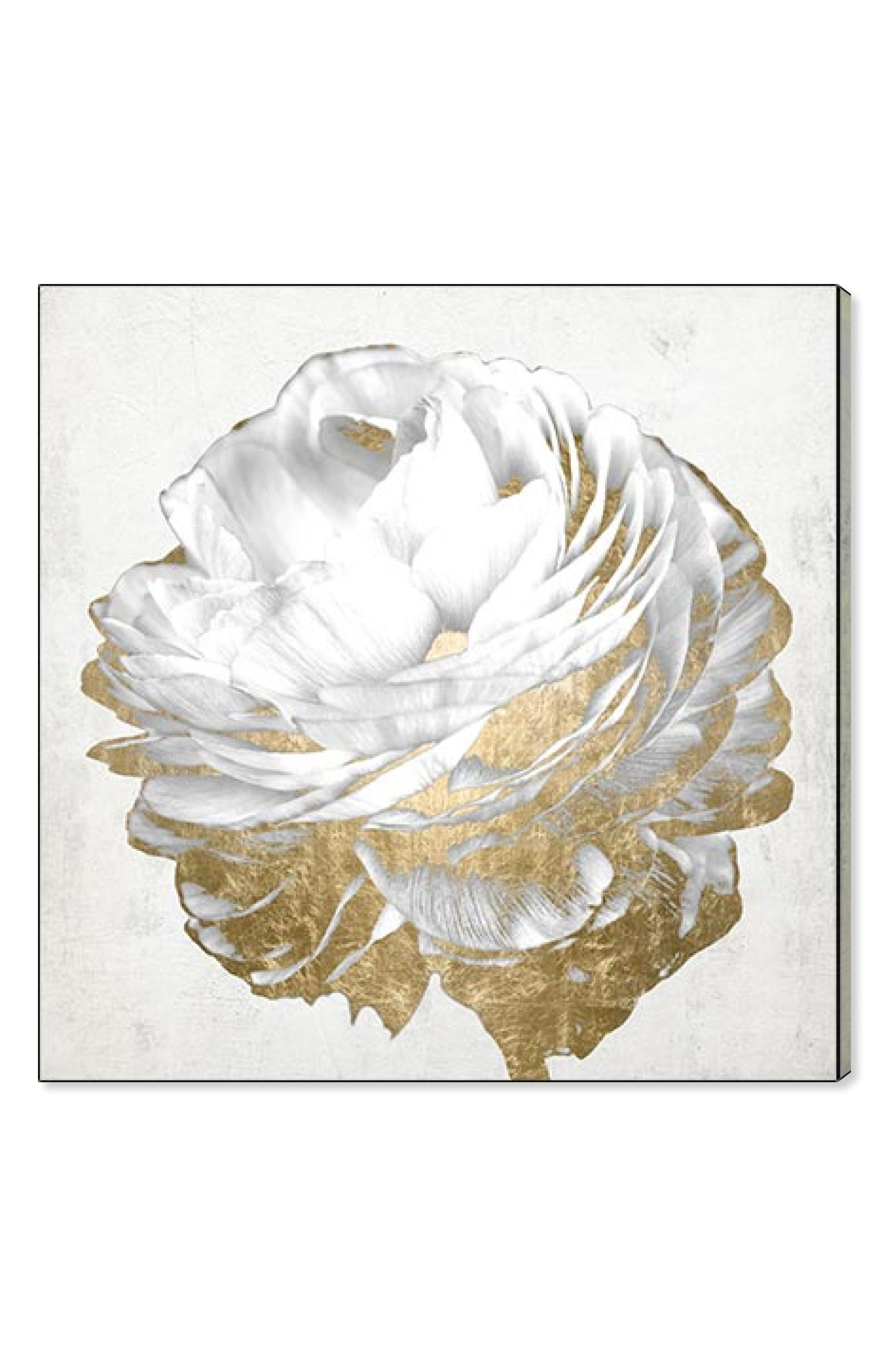 Gold & Light Floral Canvas Wall Art,                             Main thumbnail 1, color,                             Metallic Gold
