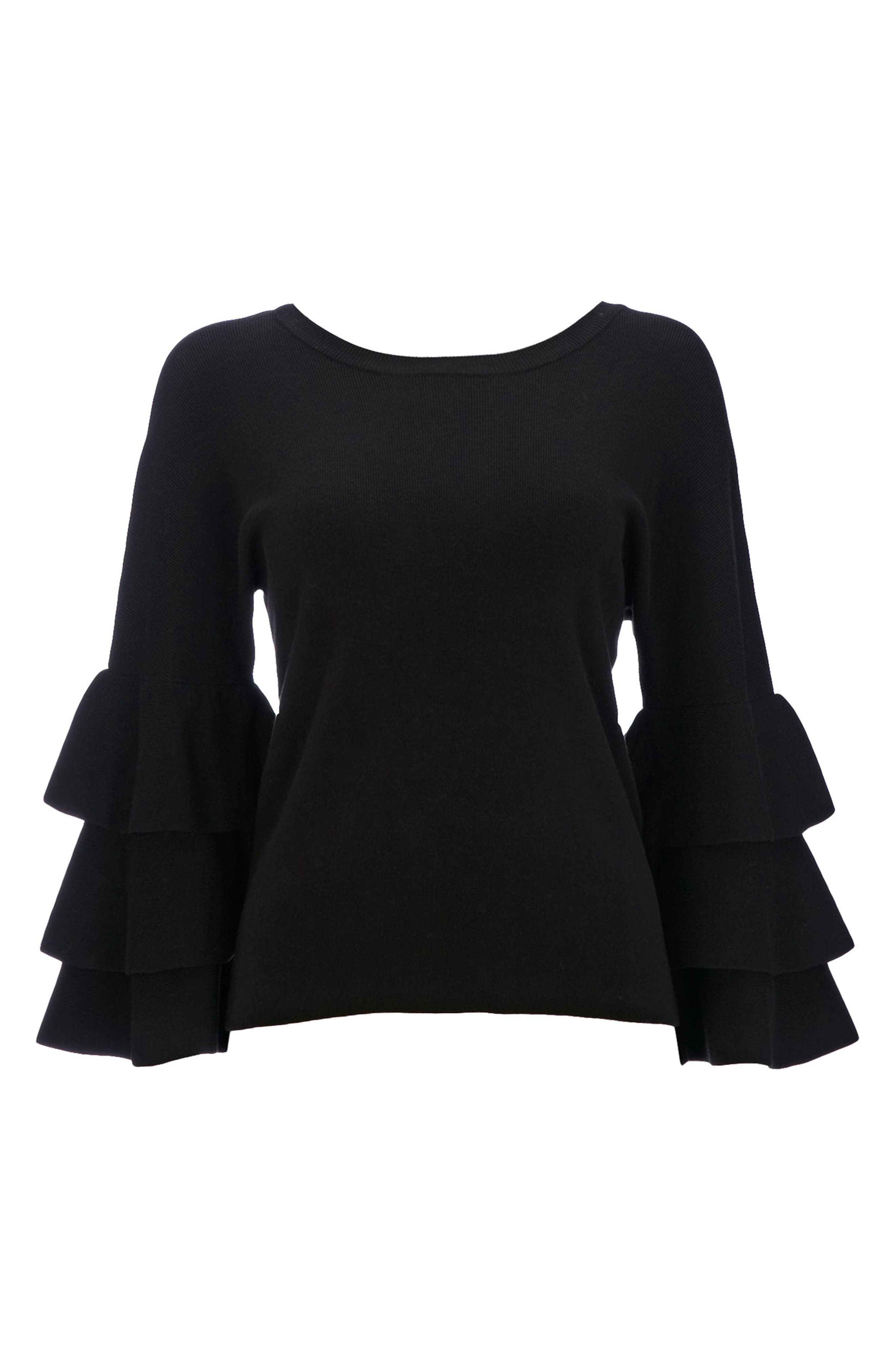 Tiered Ruffle Sleeve Top,                             Alternate thumbnail 4, color,                             Black