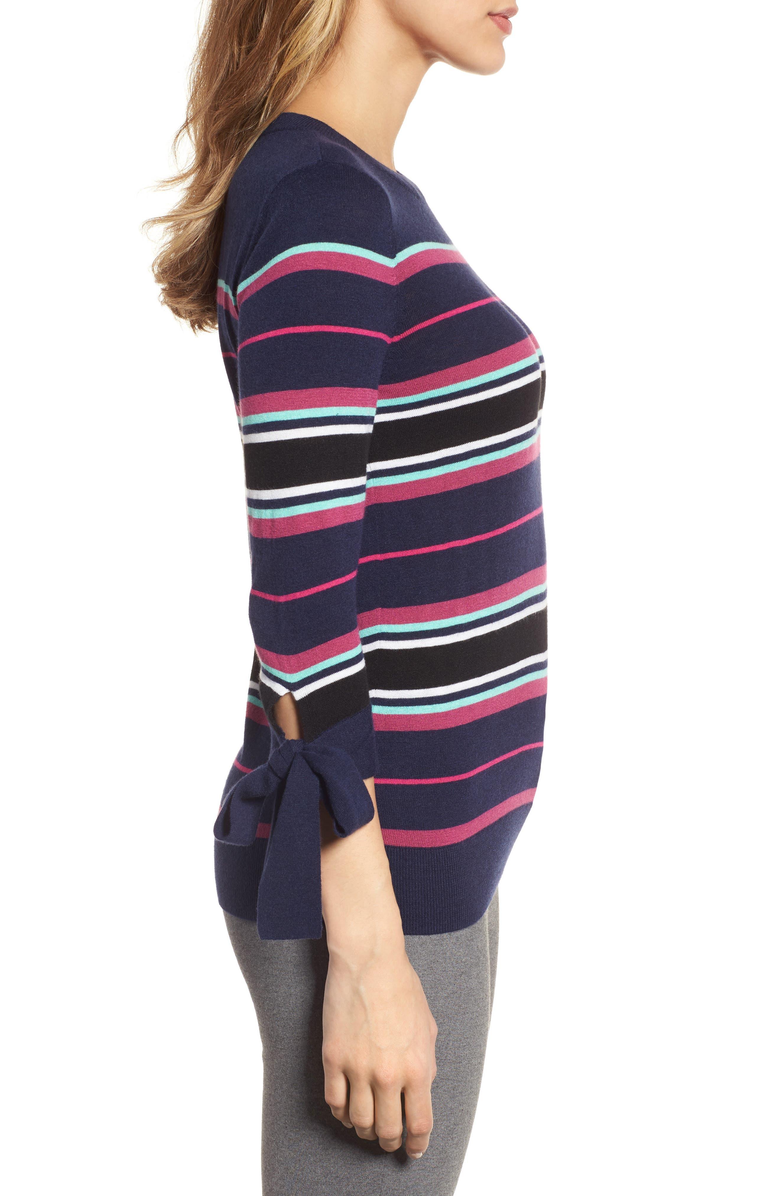 Tie Sleeve Crewneck Sweater,                             Alternate thumbnail 3, color,                             Navy/ Pink Multi Stripe