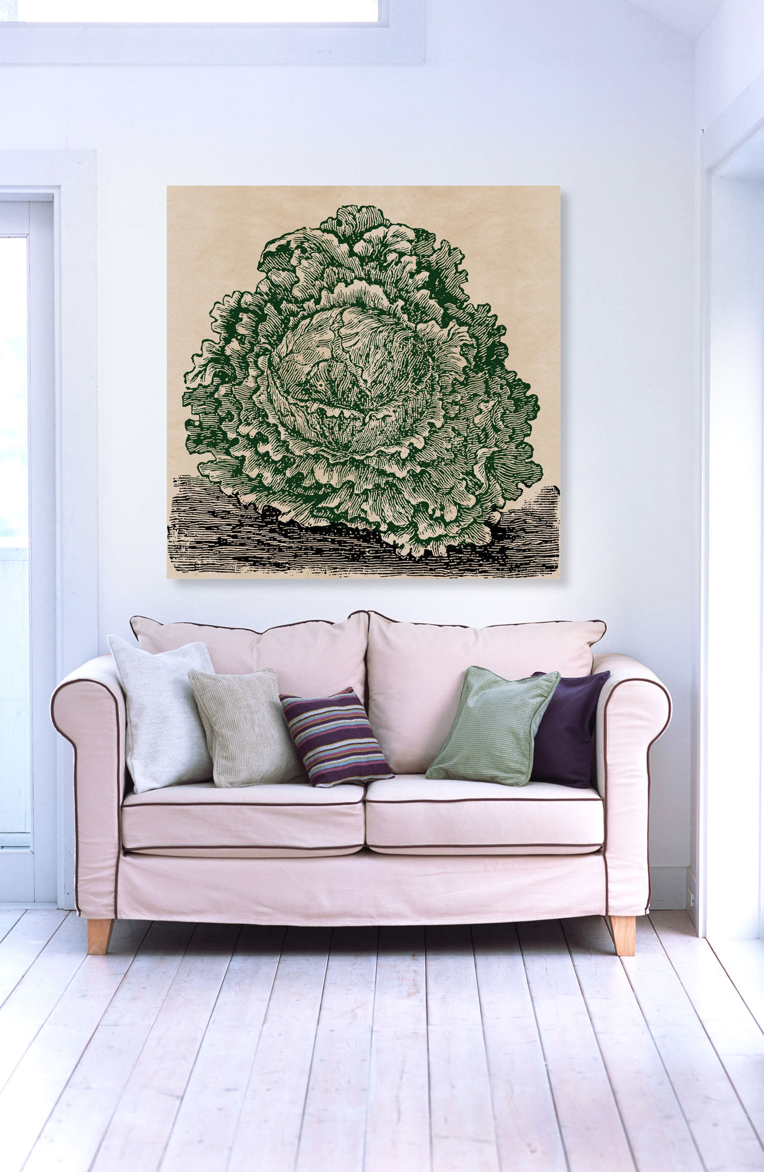 Lettuce Woodblock Canvas Wall Art,                             Alternate thumbnail 2, color,                             Green