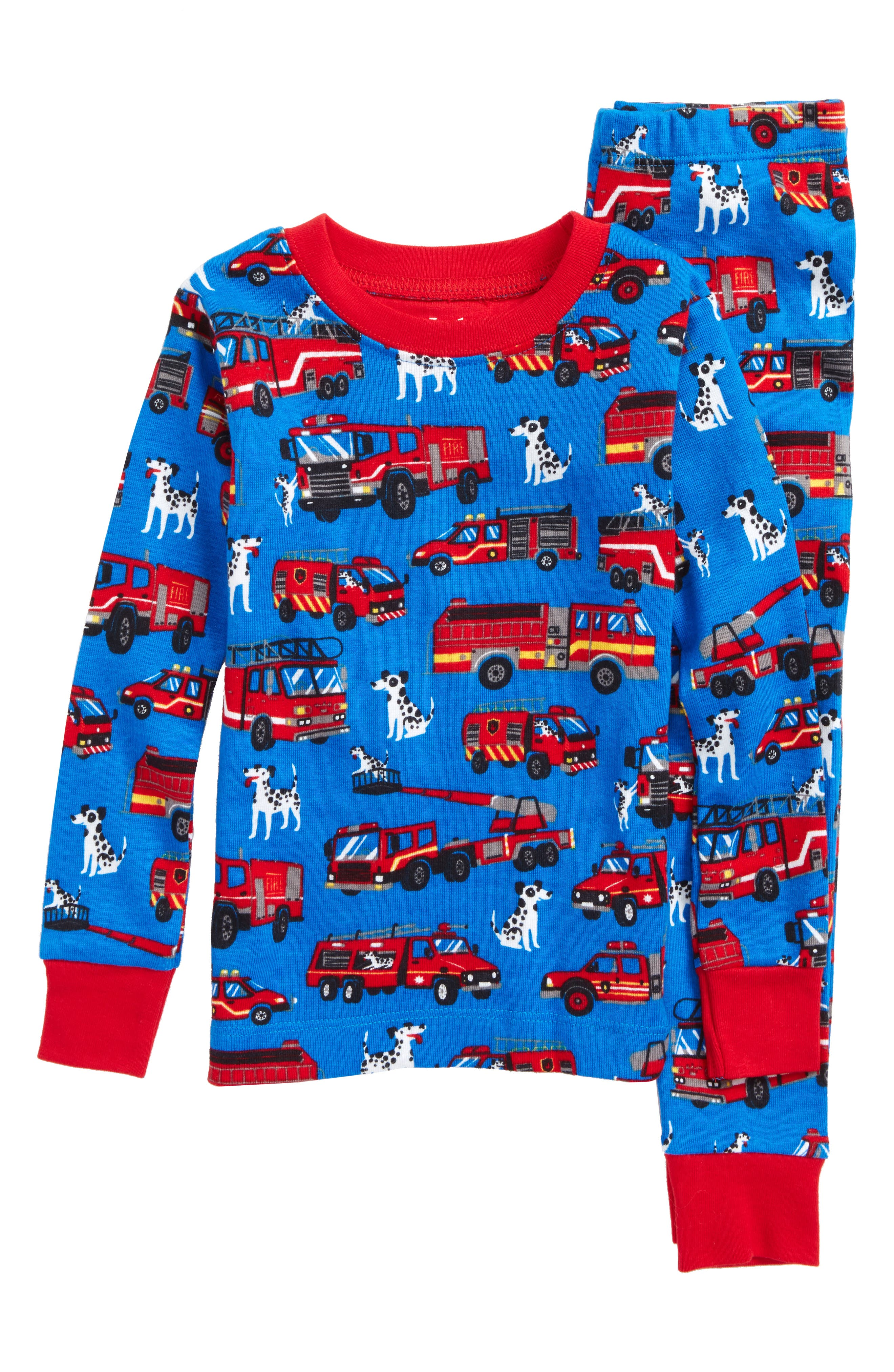 Organic Cotton Fitted Two-Piece Pajamas,                             Main thumbnail 1, color,                             Fire Trucks