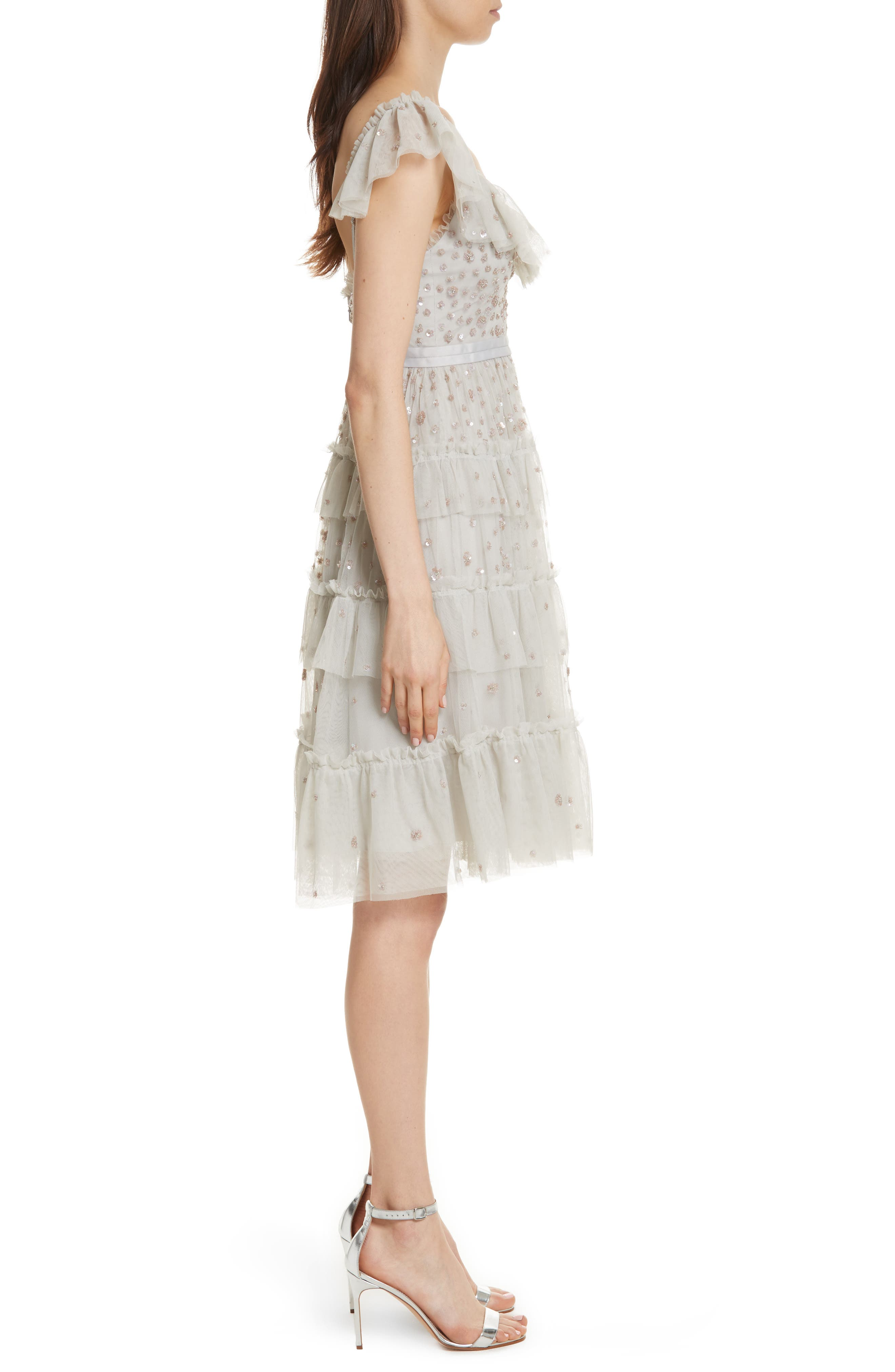 Sunburst Tiered Dress,                             Alternate thumbnail 3, color,                             Bleached Blue