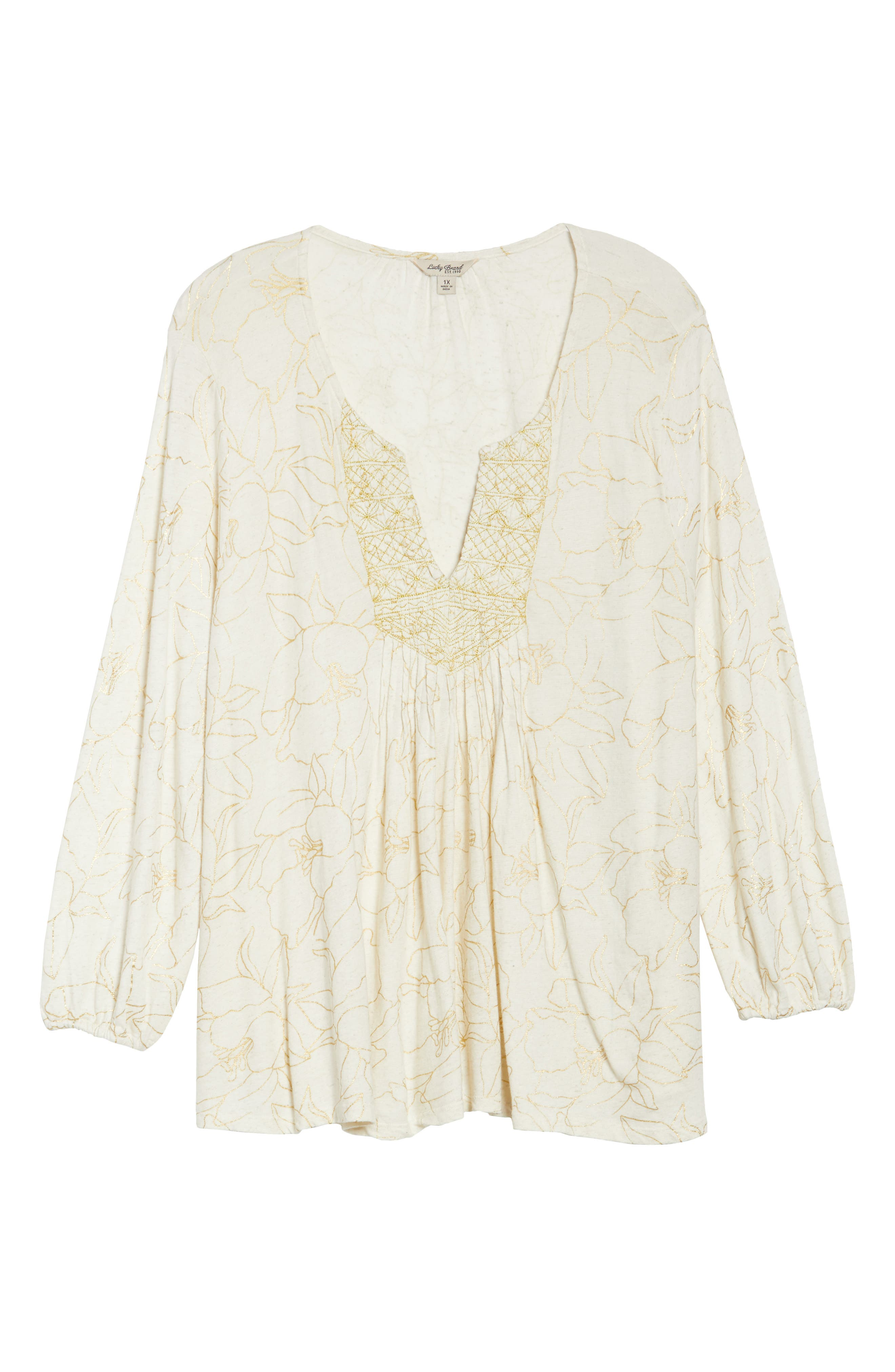 Alternate Image 6  - Lucky Brand Embroidered Foil Print Top (Plus Size)