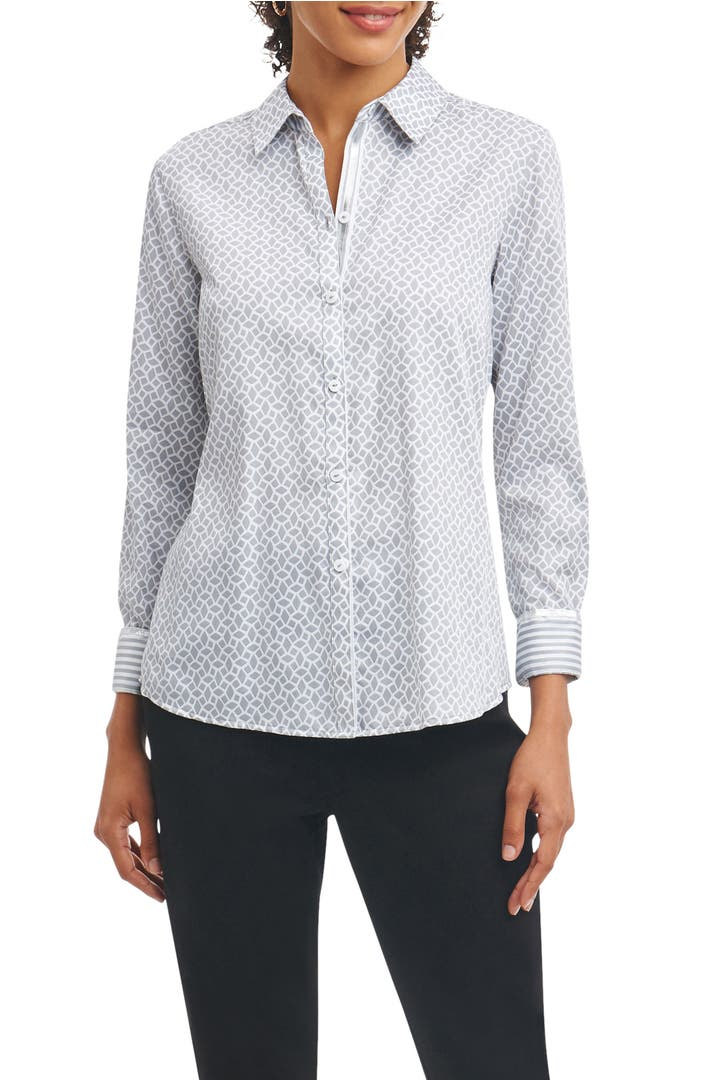 Foxcroft ava wrinkle free geo print shirt nordstrom for How do wrinkle free shirts work