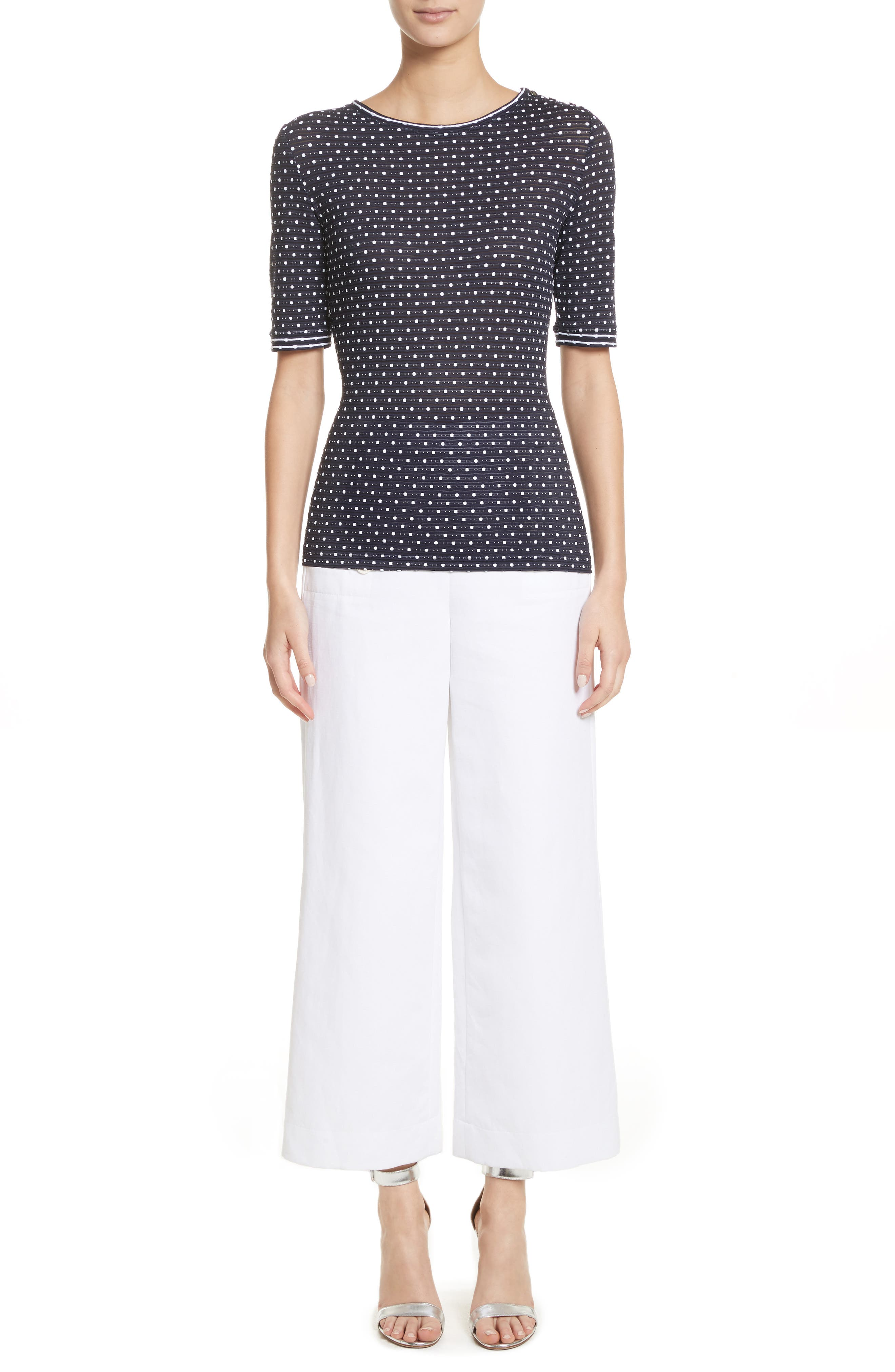 Cotton & Linen Crop Wide Leg Pants,                             Alternate thumbnail 10, color,                             Bianco