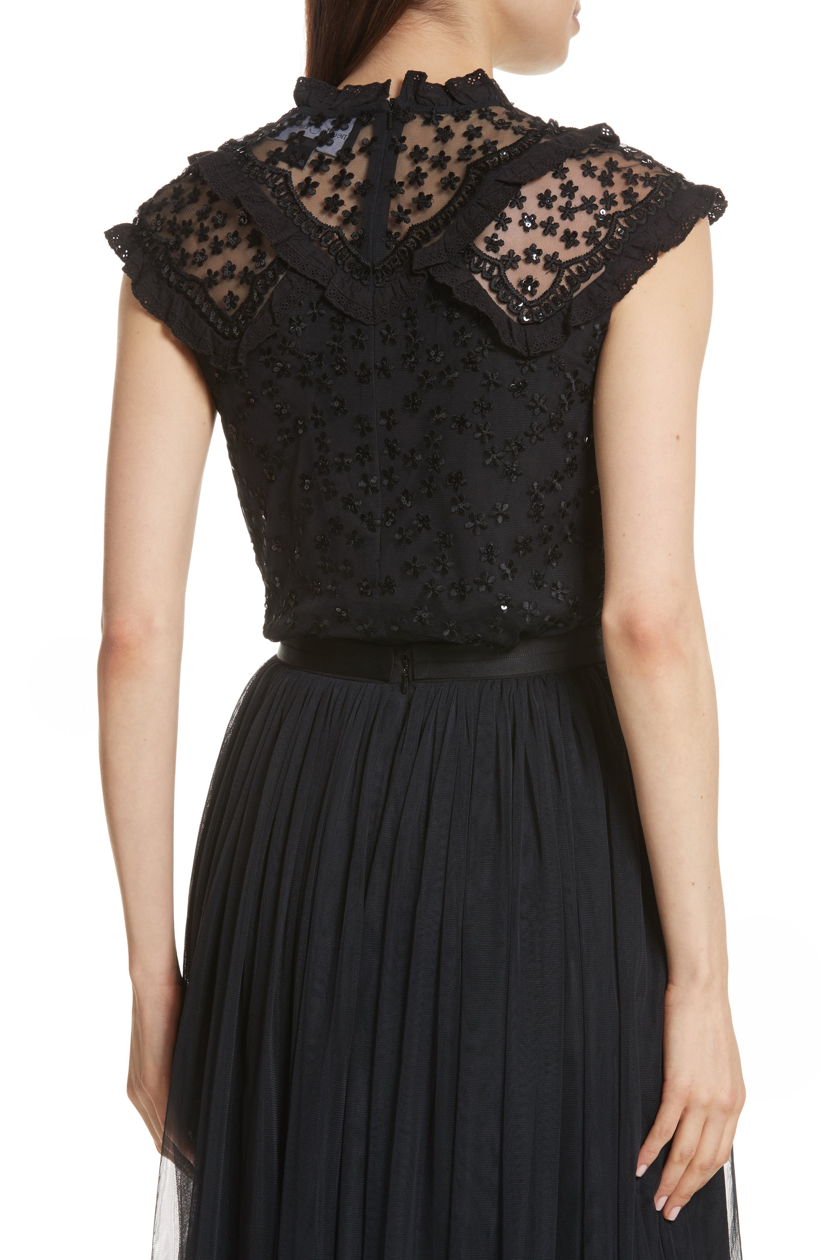 Daisy Sequin Embroidered Top,                             Alternate thumbnail 2, color,                             Washed Black