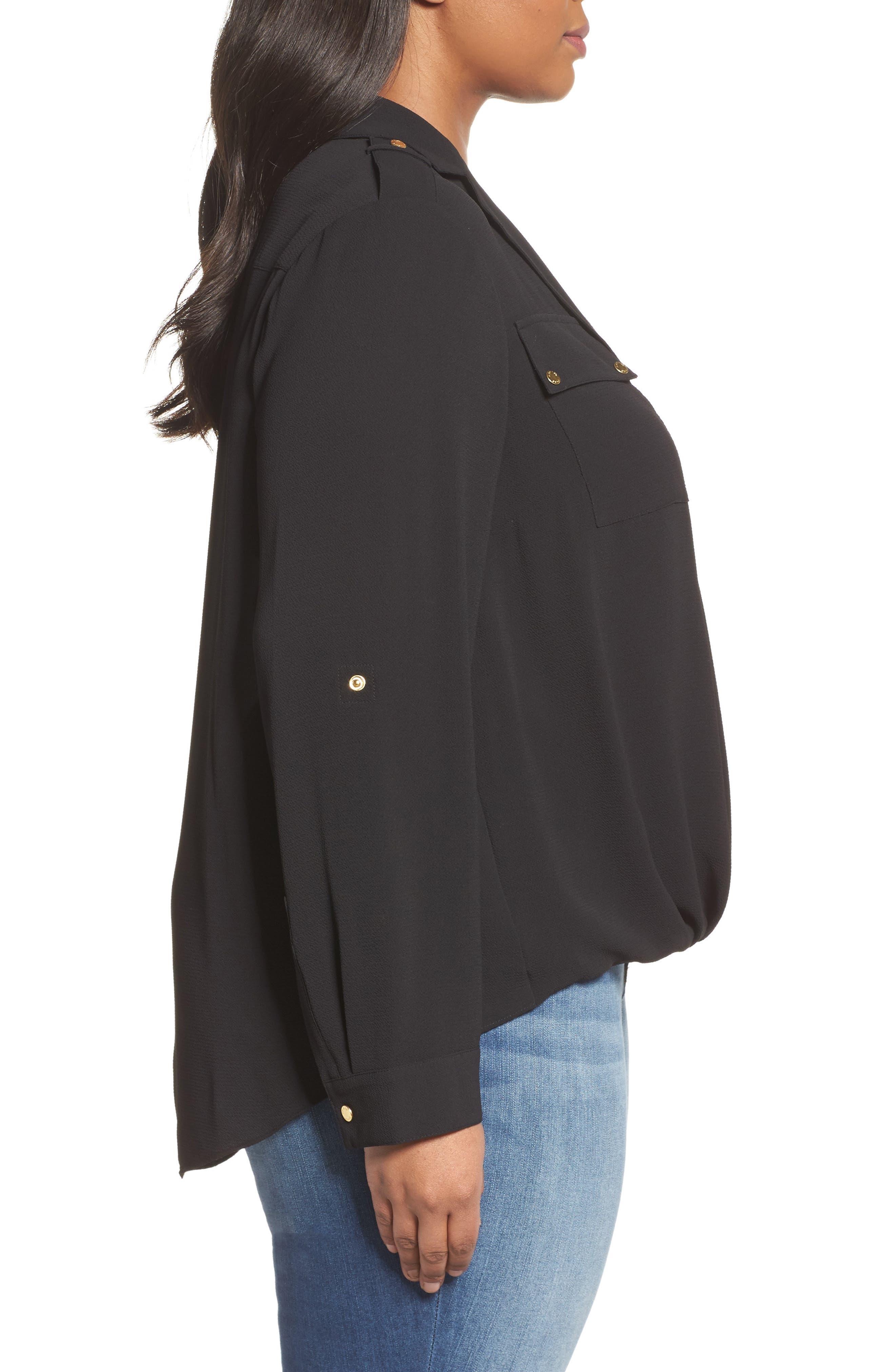 Alternate Image 3  - MICHAEL Michael Kors Draped Safari Top (Plus Size)
