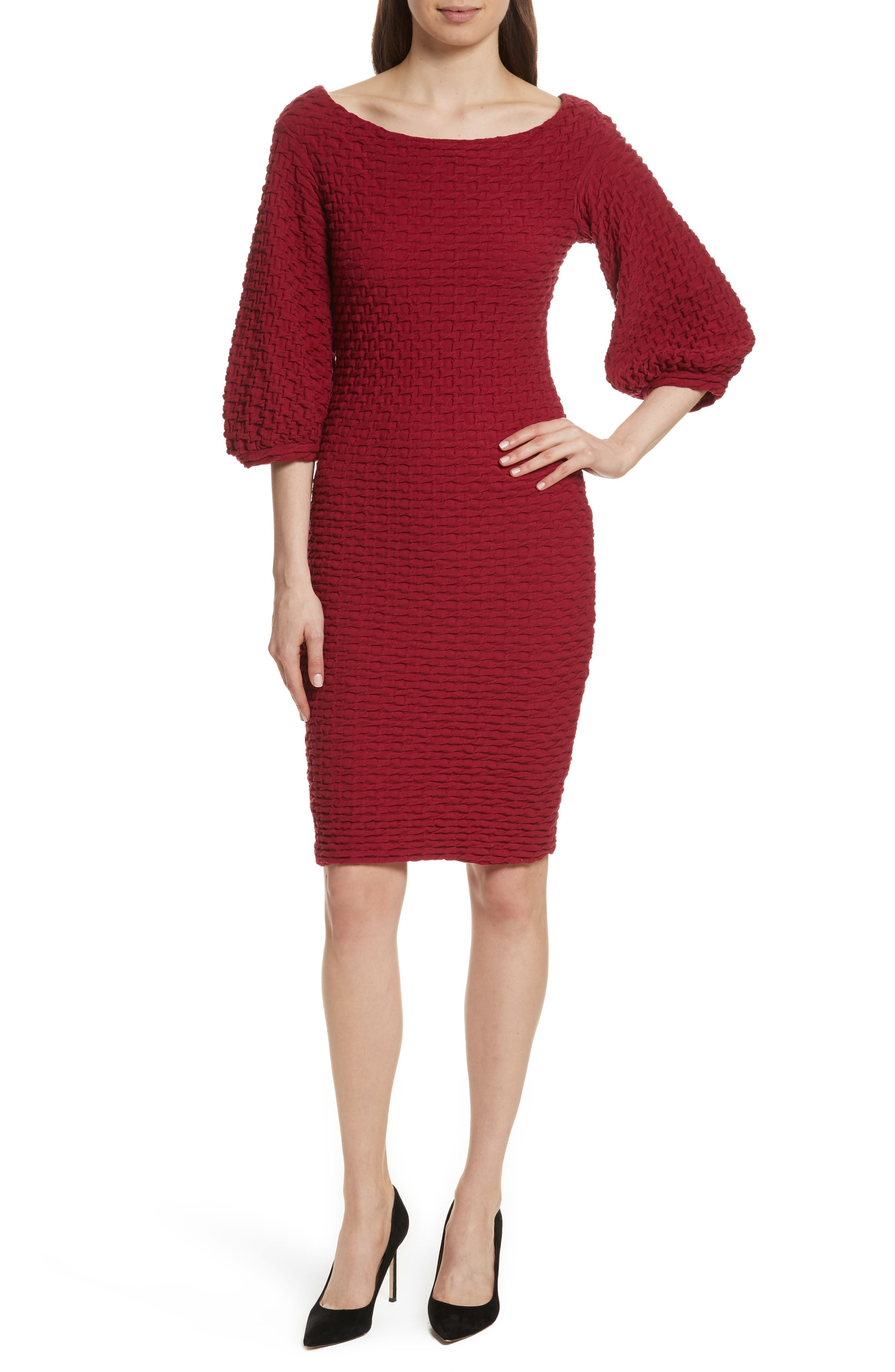 Tracy Reese Basket Weave Balloon Sleeve Dress