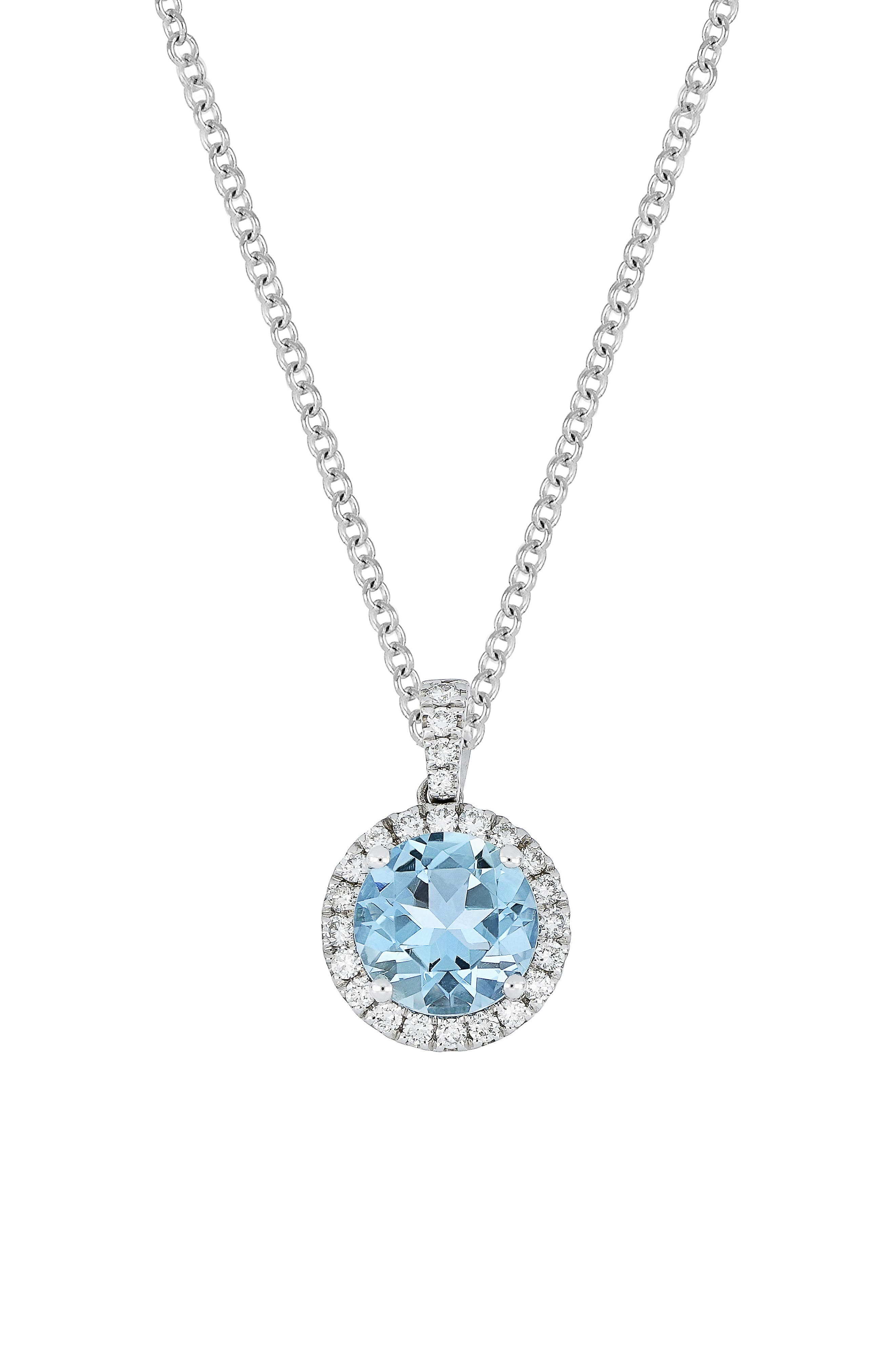 Round Aquamarine & Diamond Pendant Necklace,                             Main thumbnail 1, color,                             White Gold