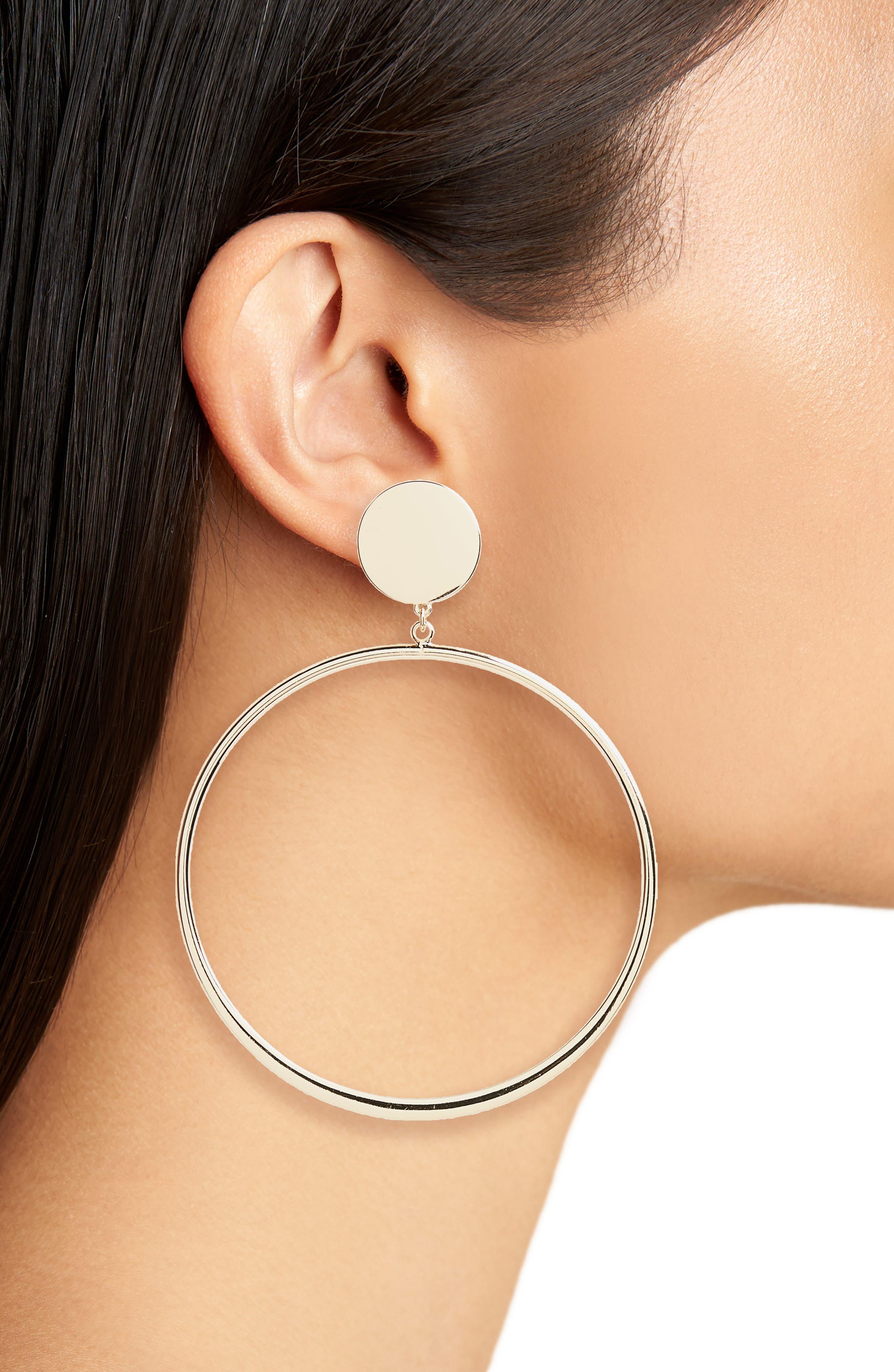 Circle Hoop Earrings,                             Alternate thumbnail 2, color,                             Gold