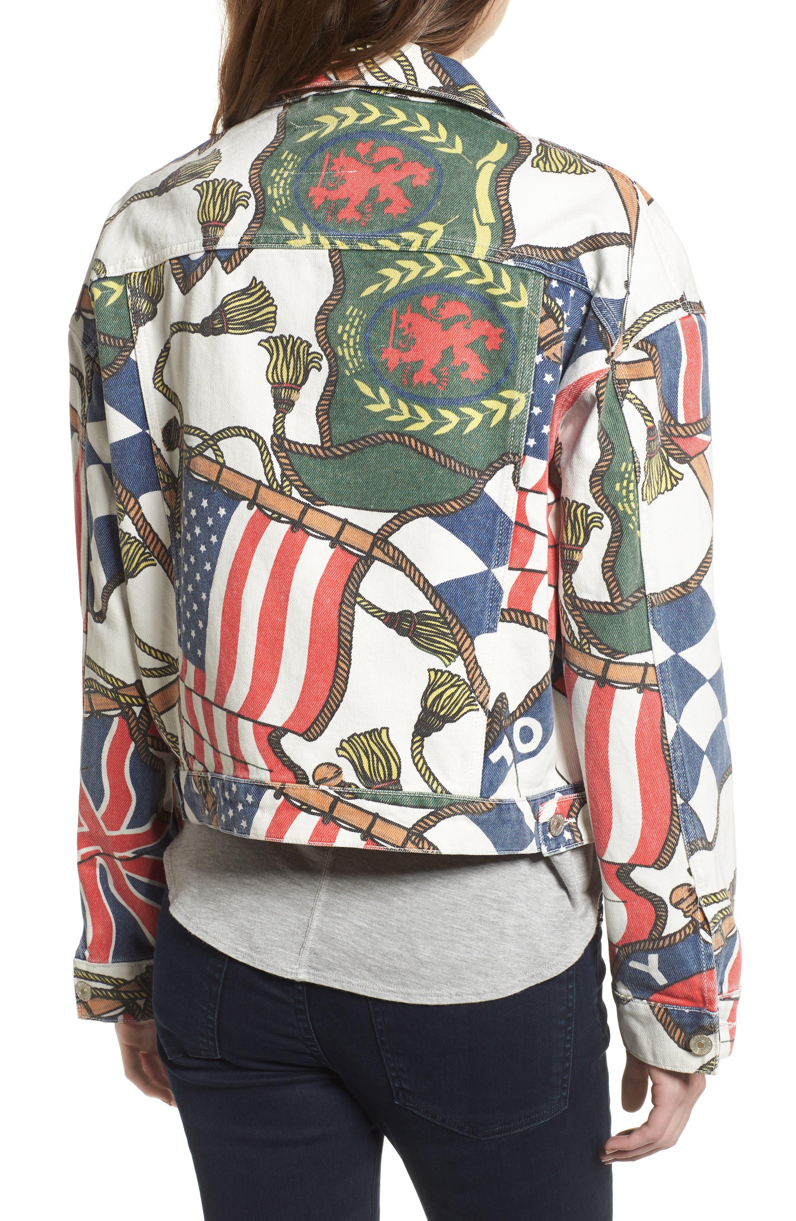 '90s Flag Print Denim Jacket,                             Alternate thumbnail 3, color,                             Bright White / Multi