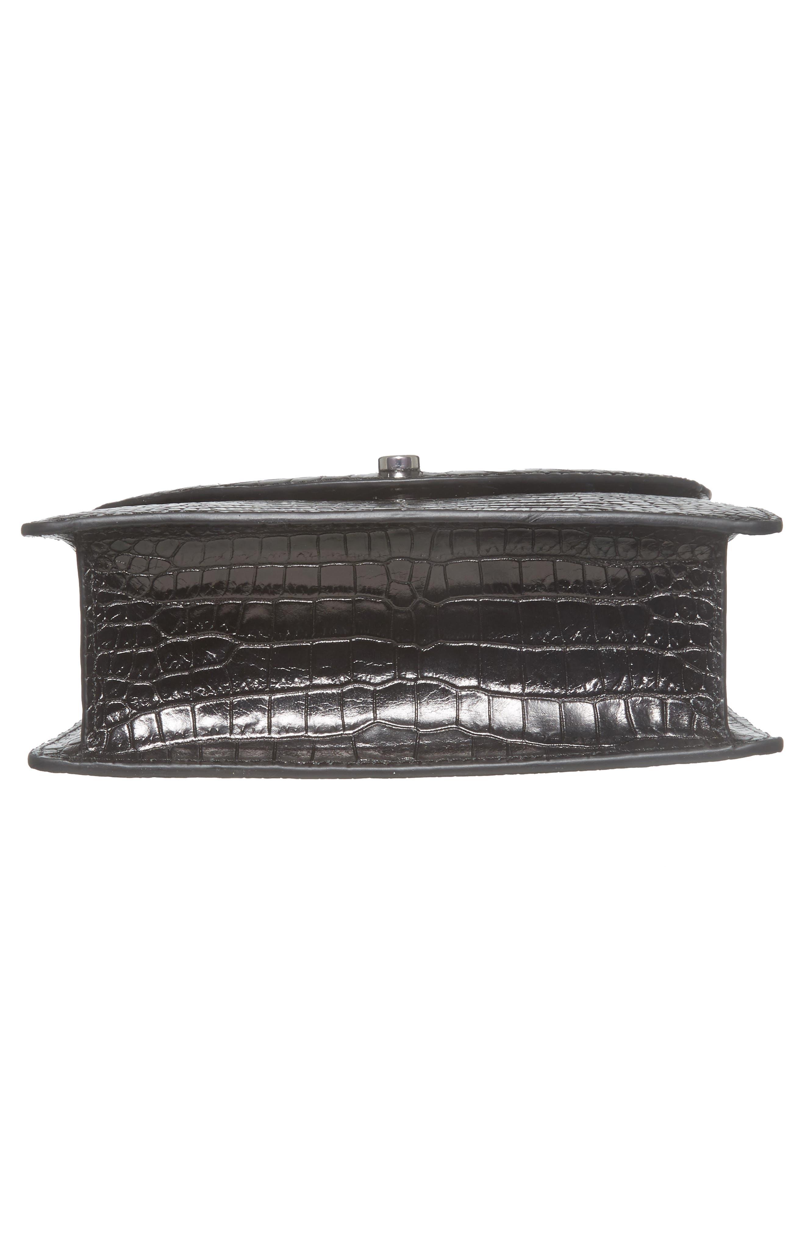 Eloise Leather Crossbody Bag,                             Alternate thumbnail 6, color,                             Black