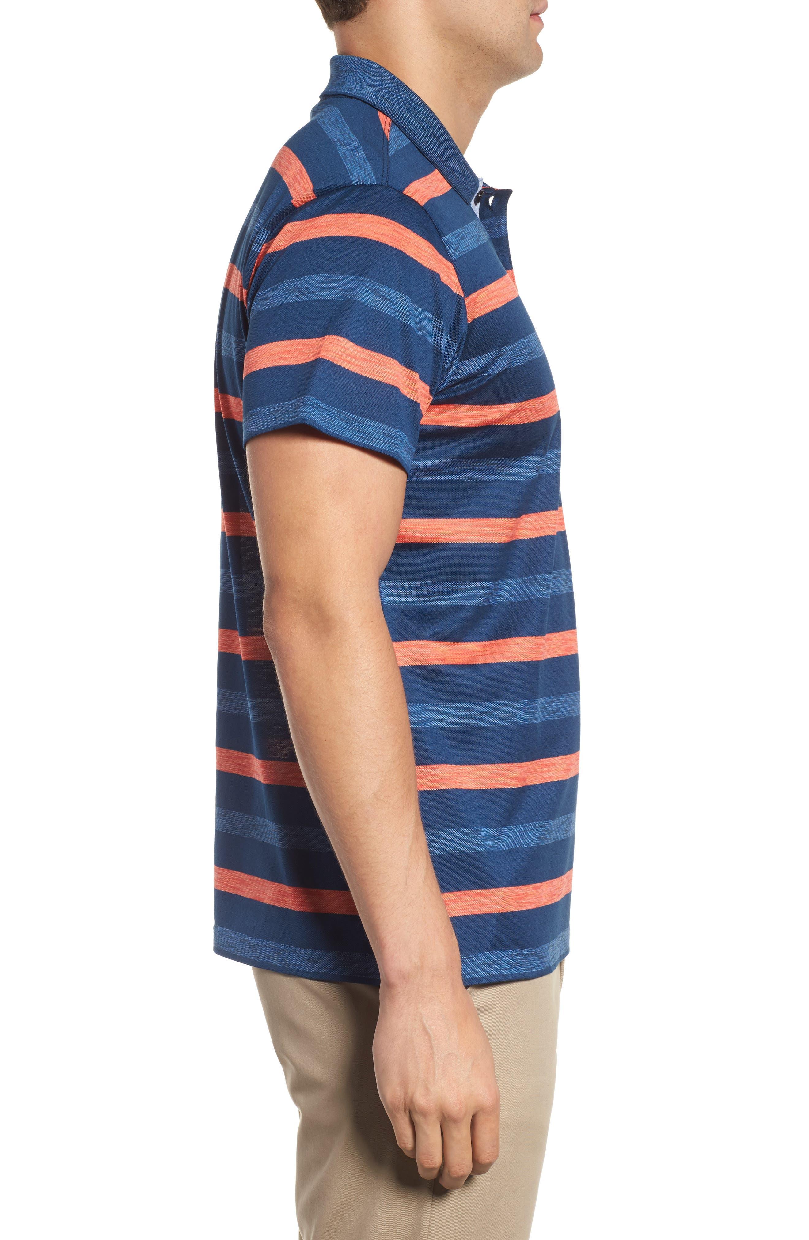Paul&Shark Stripe Piqué Polo,                             Alternate thumbnail 3, color,                             Blue/ Orange