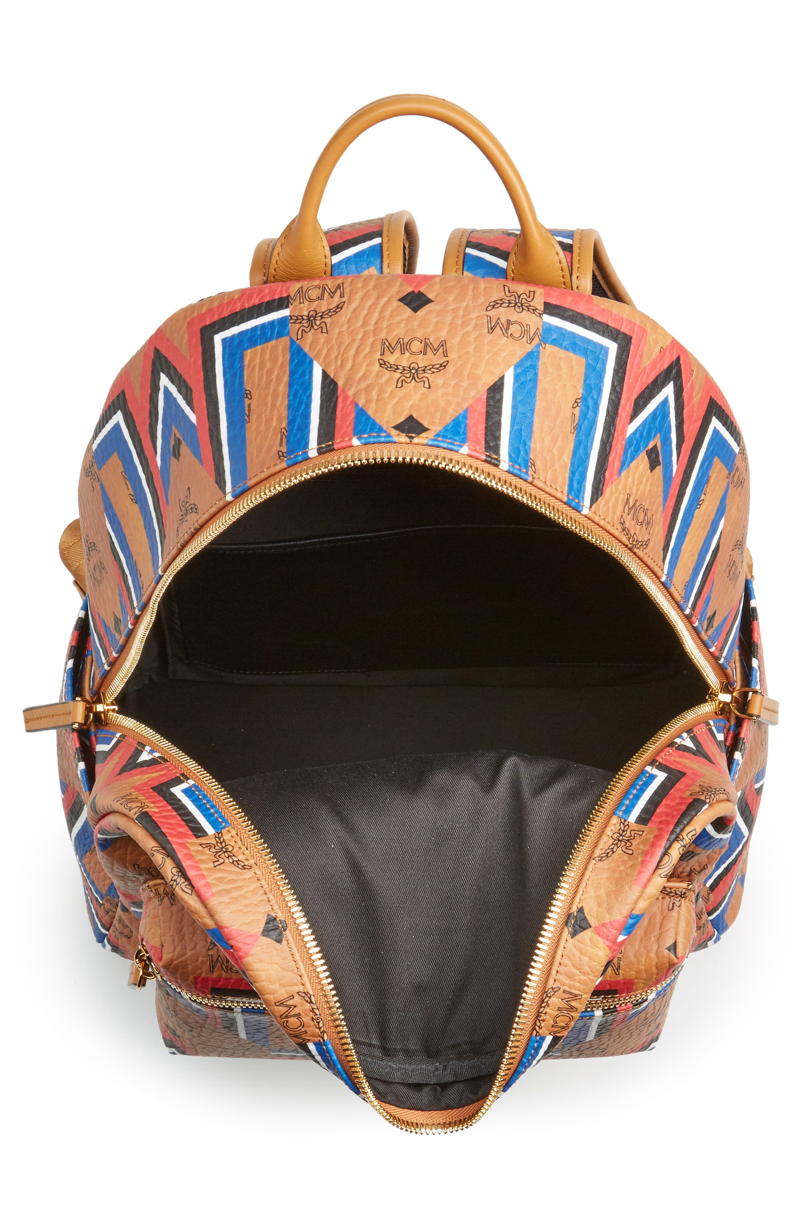 Stark Gunta Visetos Print Faux Leather Backpack,                             Alternate thumbnail 4, color,                             Cognac