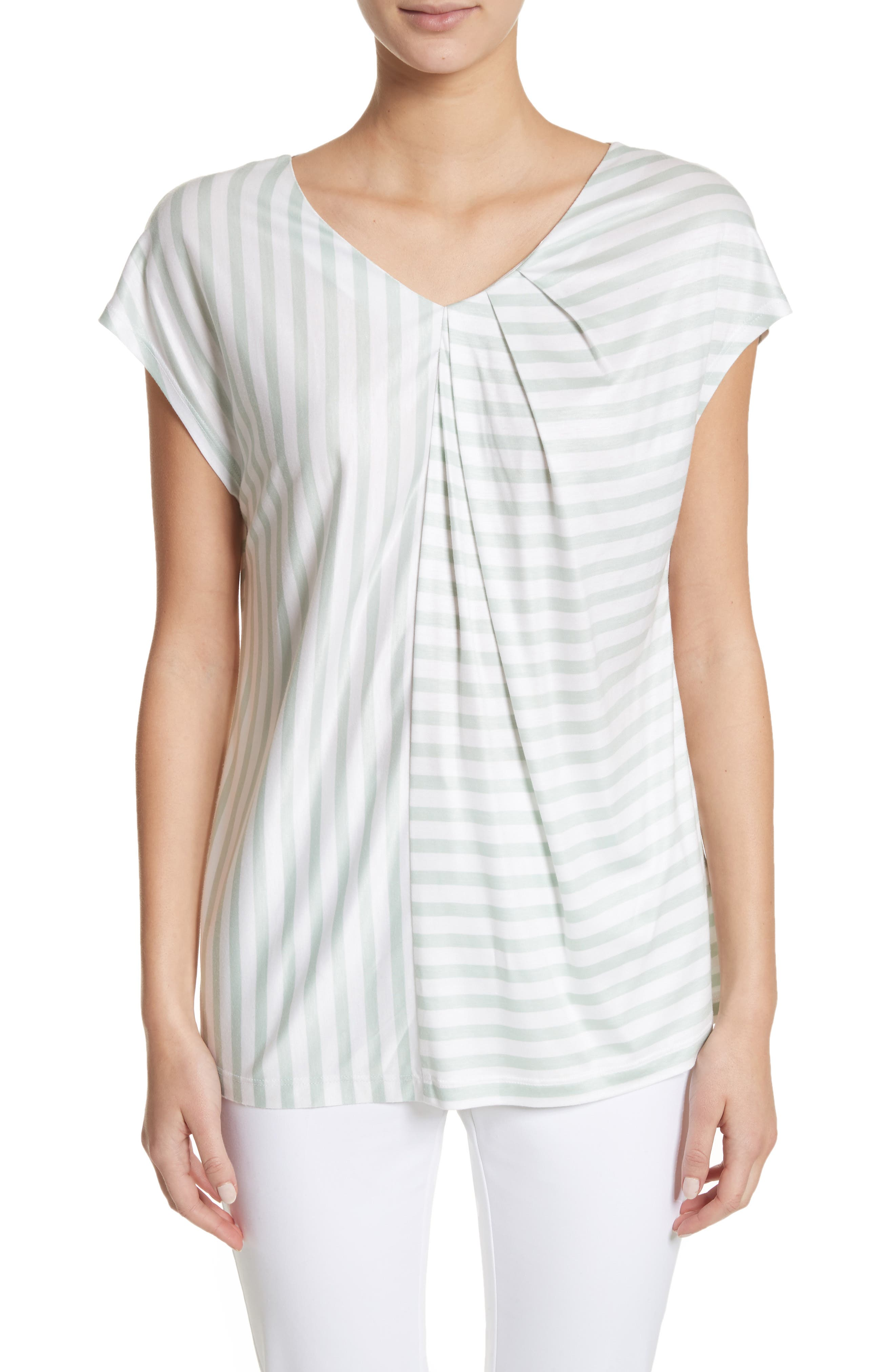 Stripe Jersey Gathered Tee,                             Main thumbnail 1, color,                             Bianco/ Mint