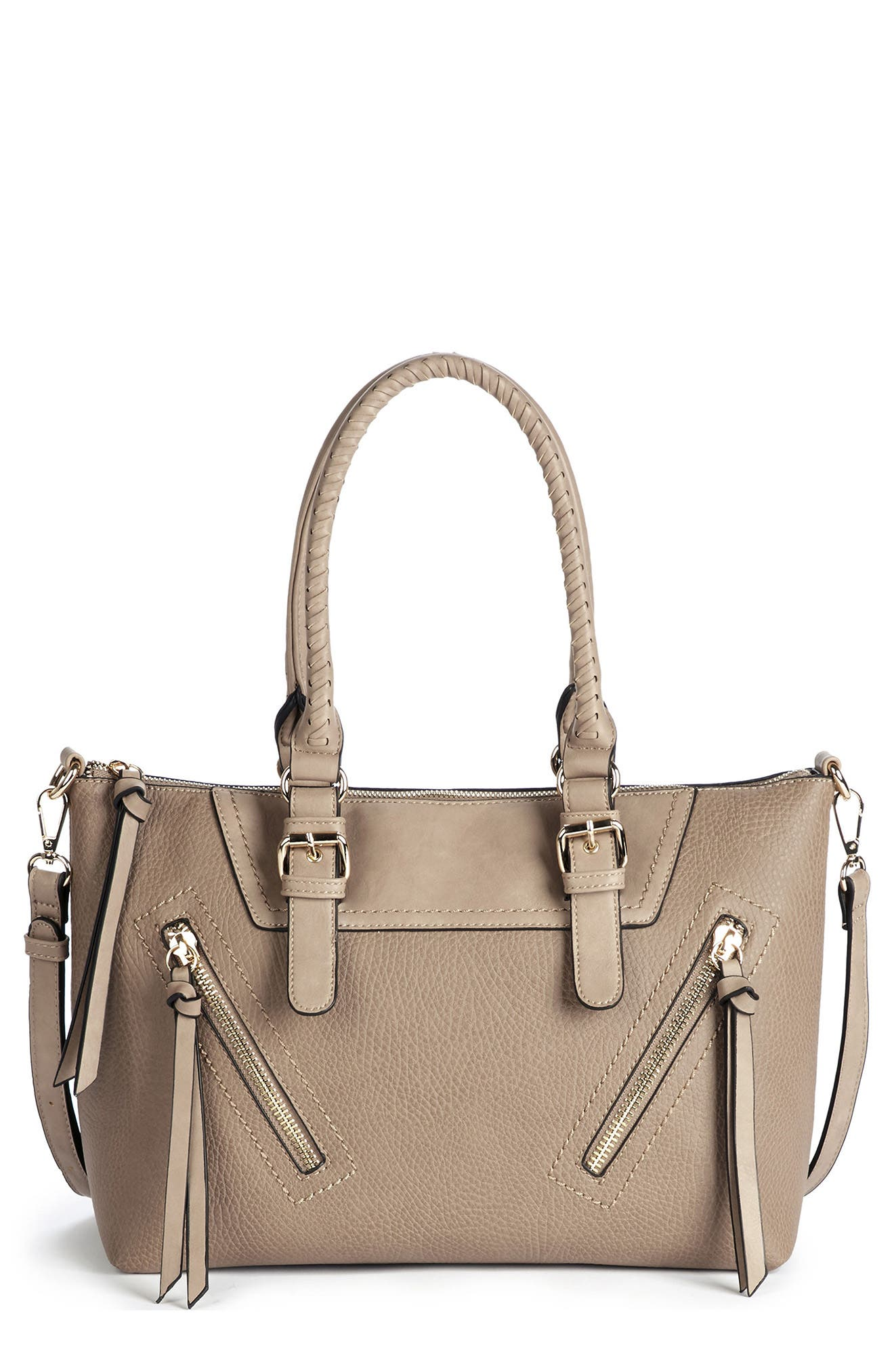 Girard Faux Leather Satchel,                         Main,                         color, Sand