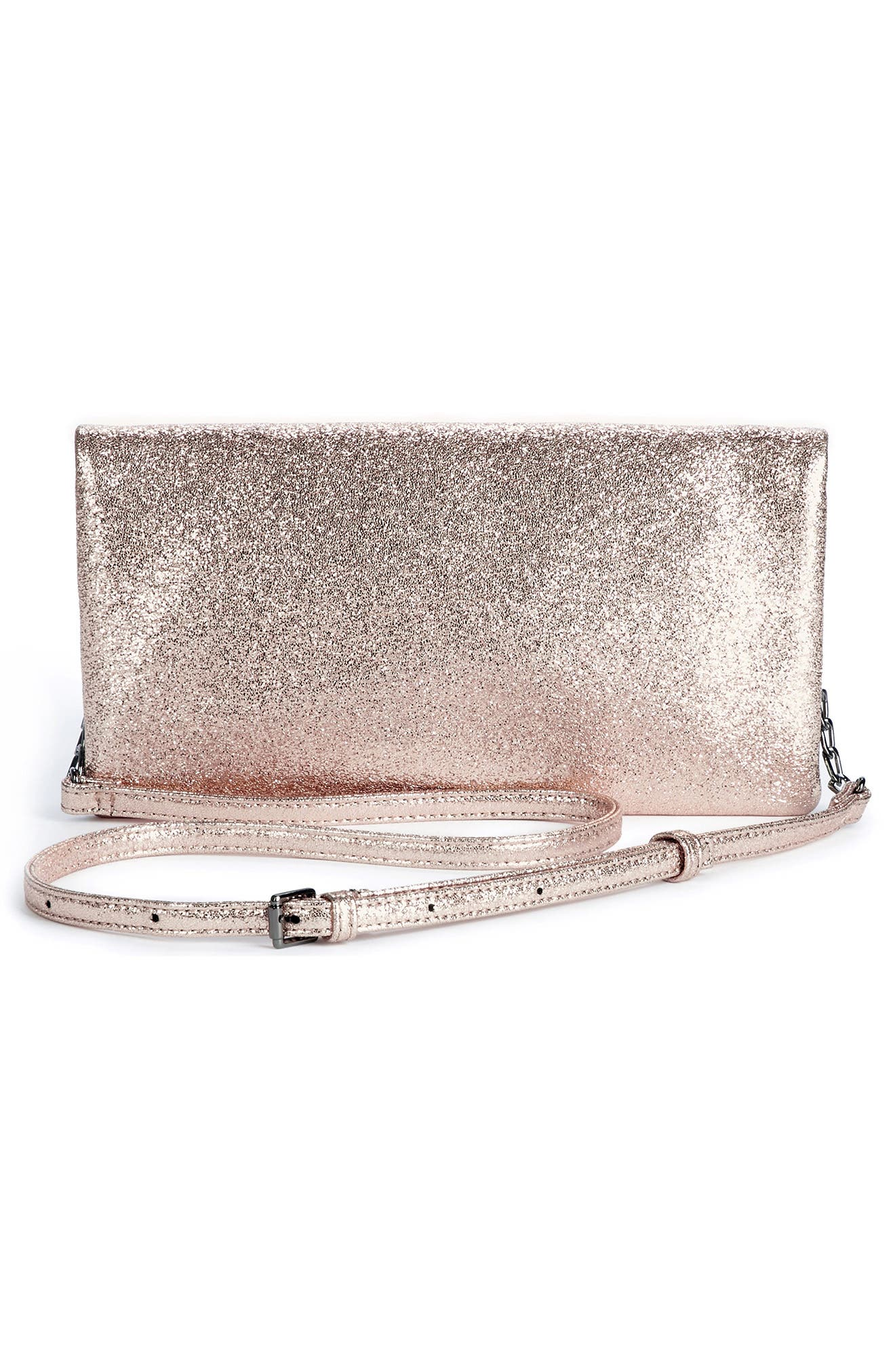 Maci Crinkle Faux Leather Foldover Clutch,                             Alternate thumbnail 3, color,                             Rosegold