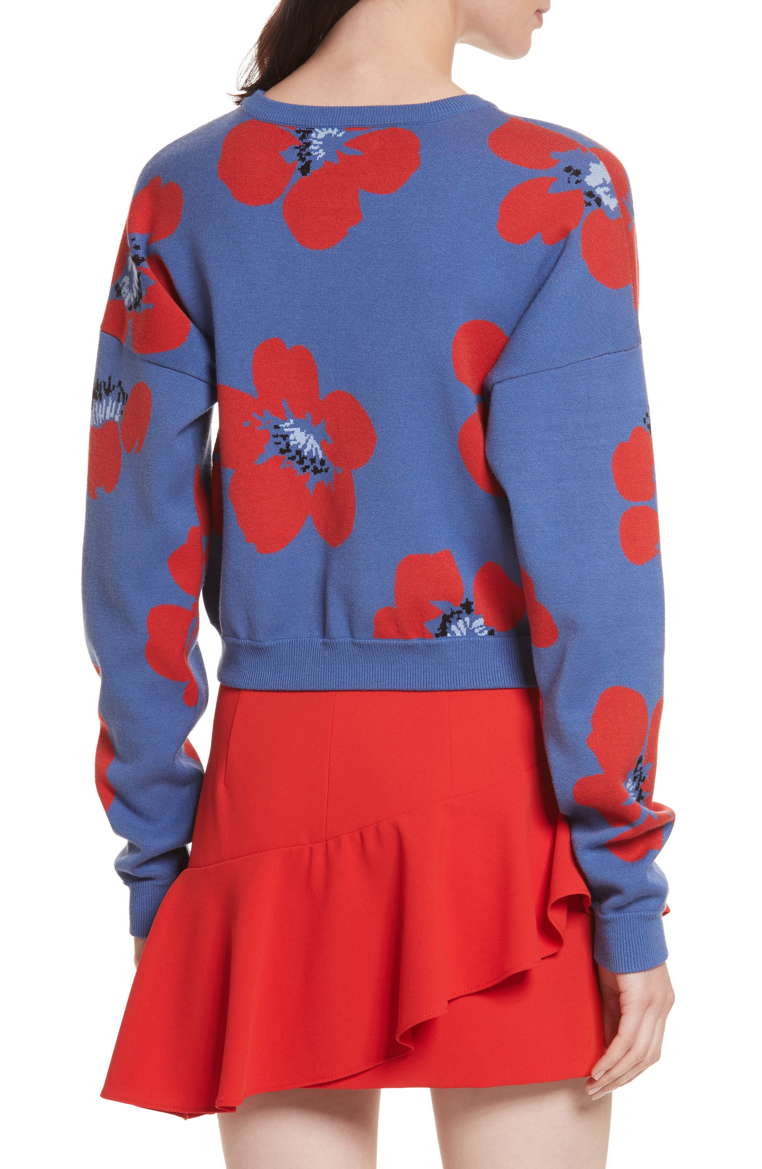Leena Floral Crop Sweatshirt,                             Alternate thumbnail 2, color,                             Blue Quartz Multi