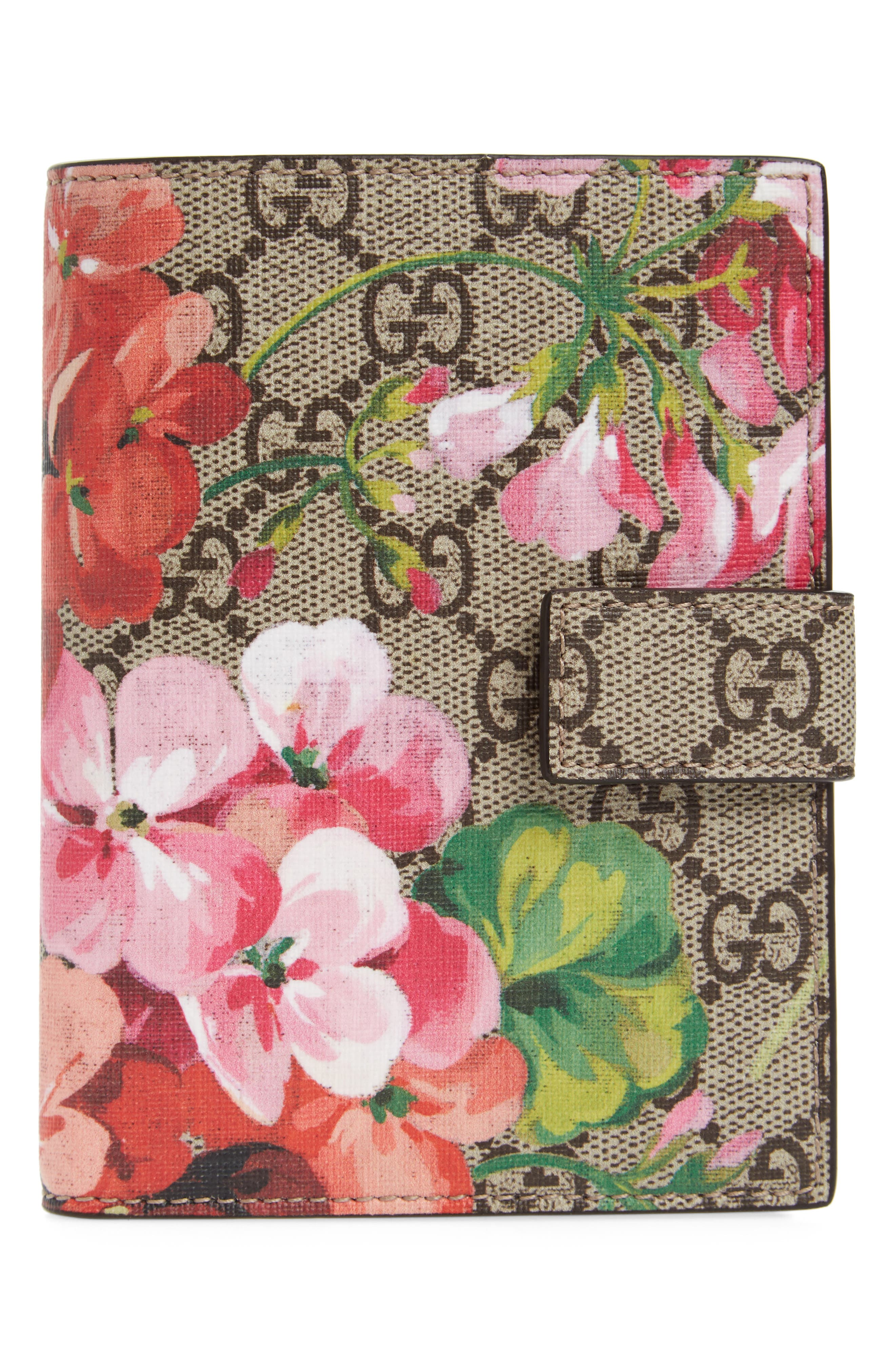 Blooms GG Canvas Passport Case,                         Main,                         color, Beige Ebony/Dry Rose