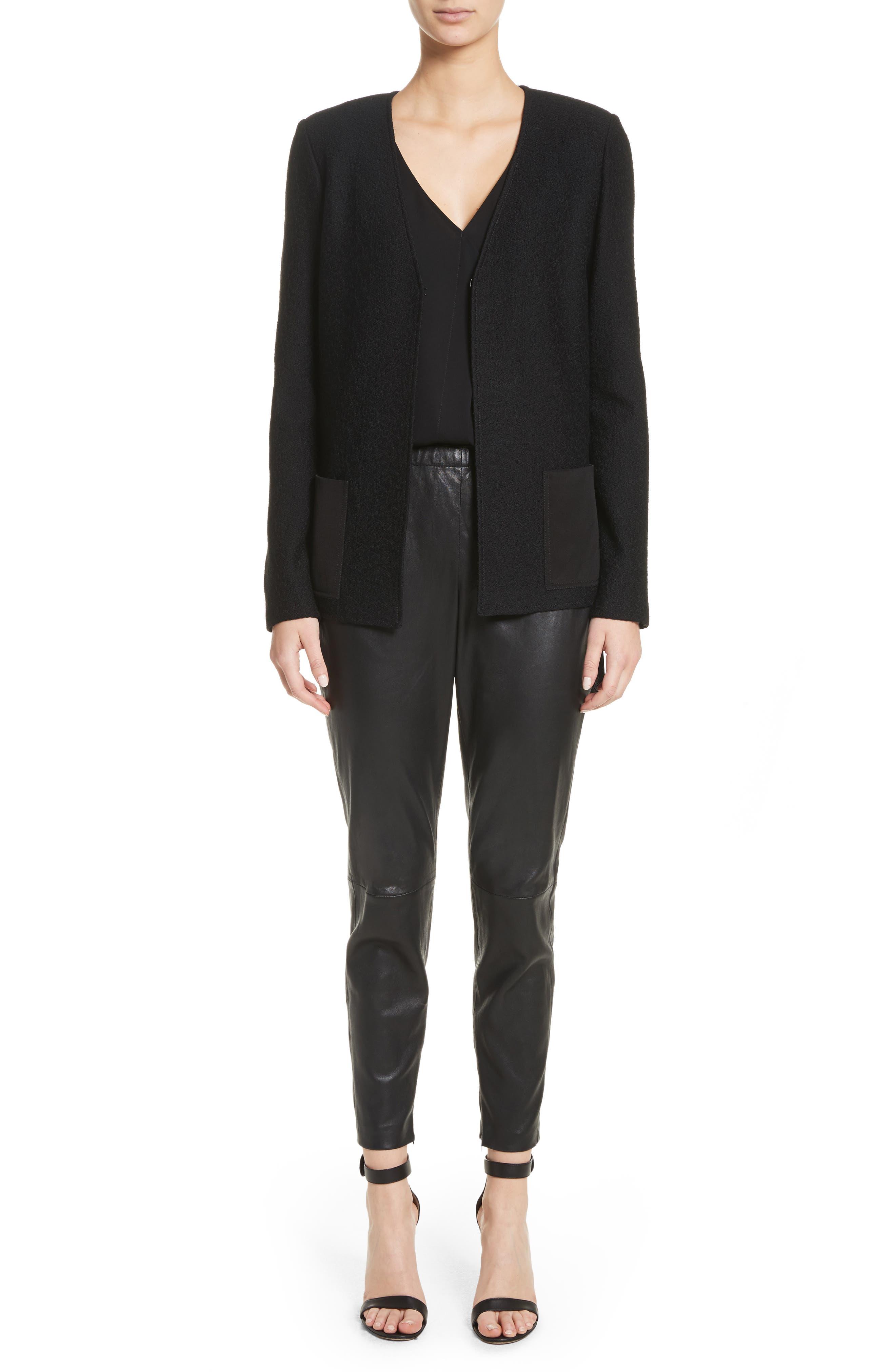 Hannah Knit A-Line Jacket,                             Alternate thumbnail 7, color,                             Caviar