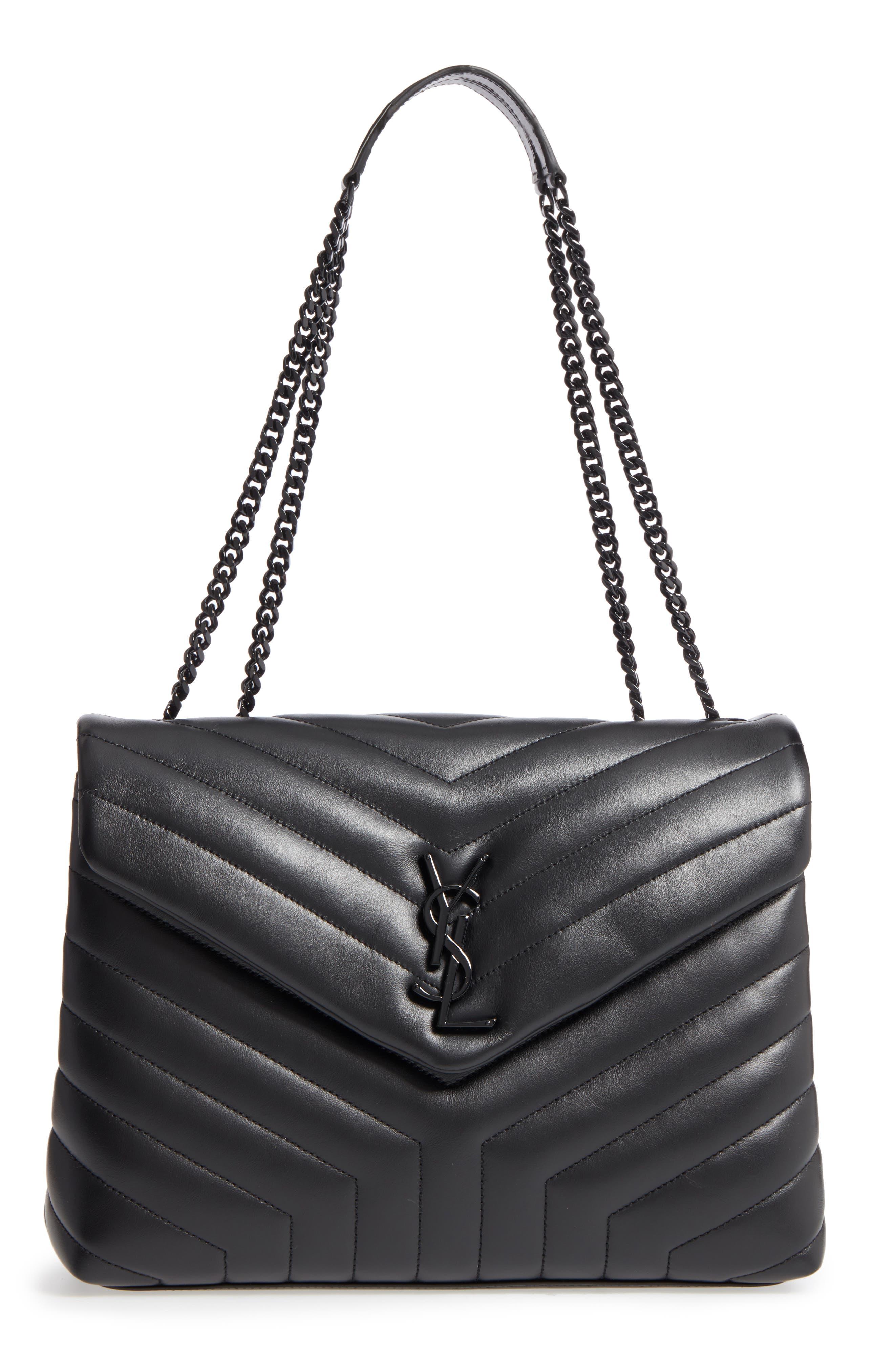Medium Loulou Matelassé Leather Shoulder Bag,                             Main thumbnail 1, color,                             Noir