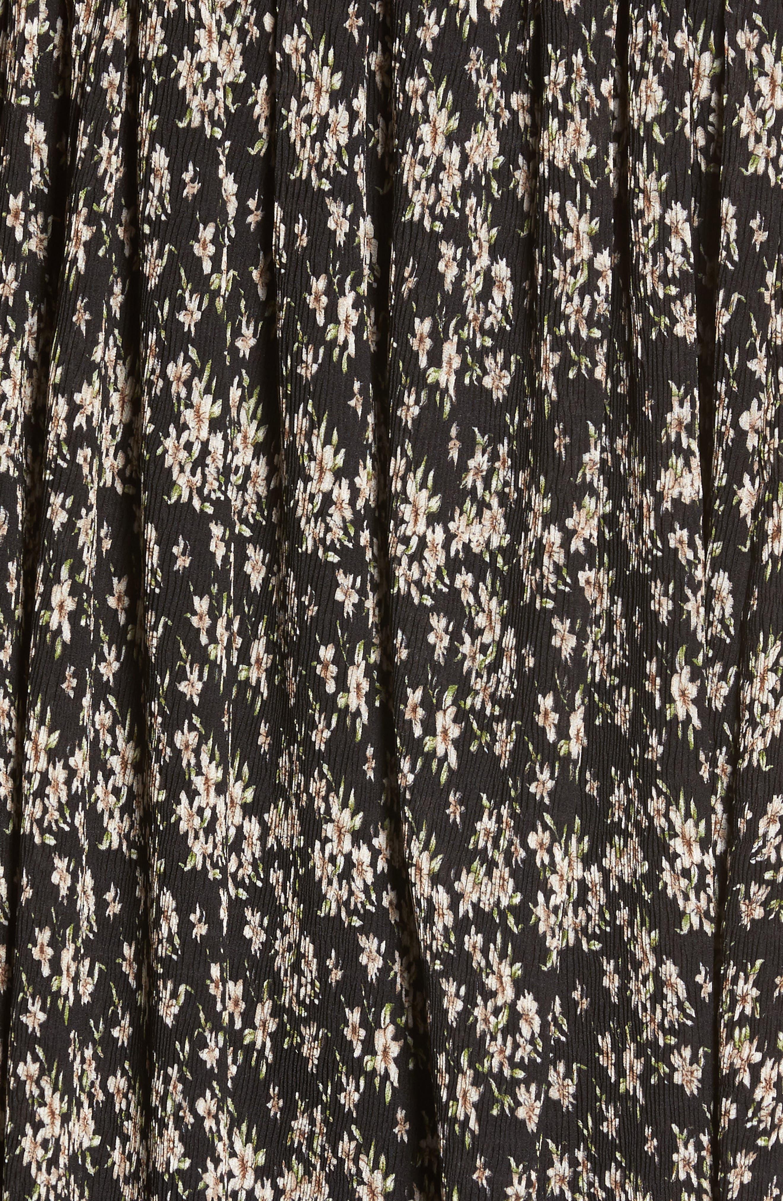 Floral Print Chiffon Top,                             Alternate thumbnail 5, color,                             Black Floral