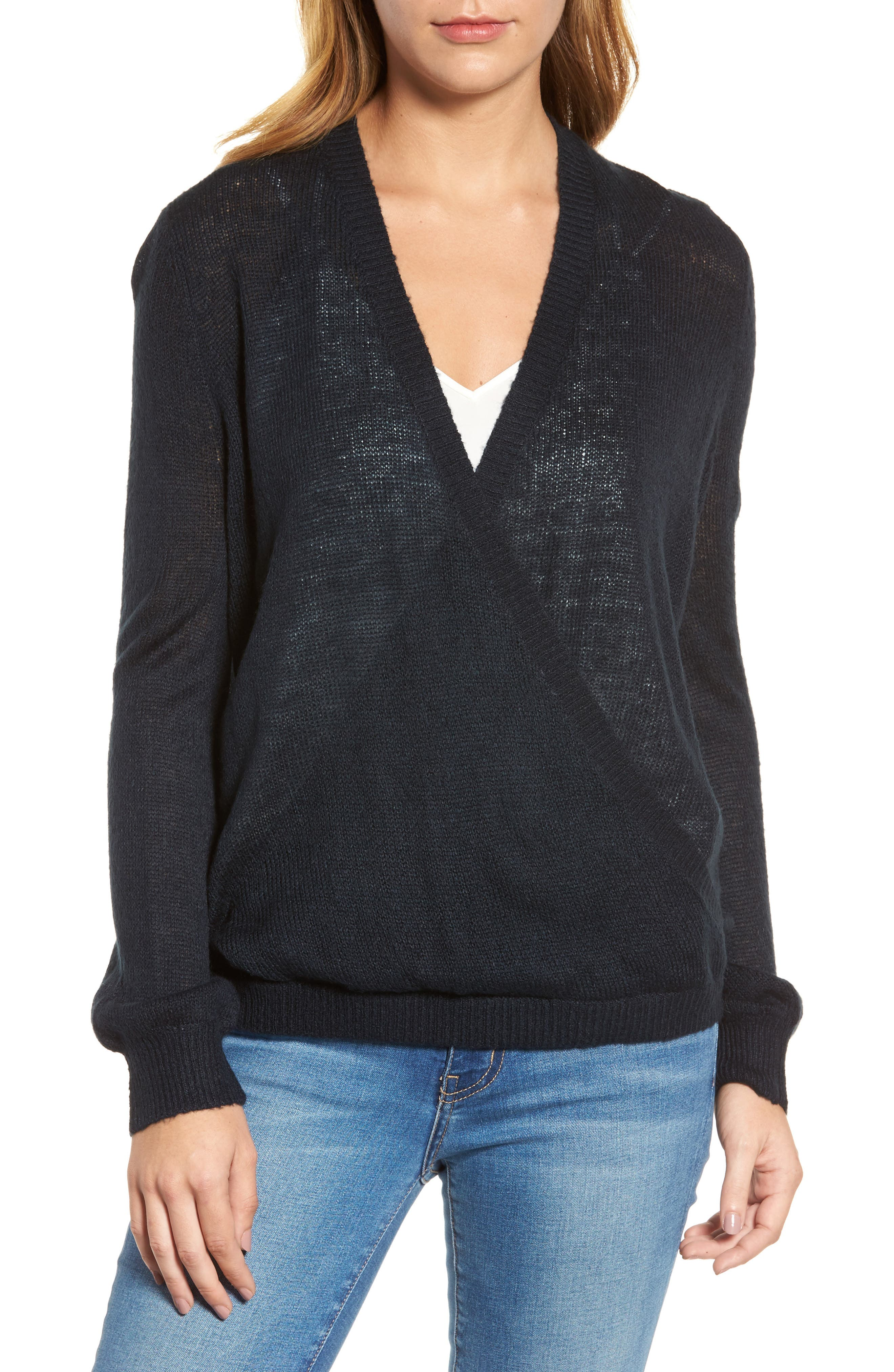 V-Neck Wrap Sweater,                             Main thumbnail 1, color,                             Deepest Navy
