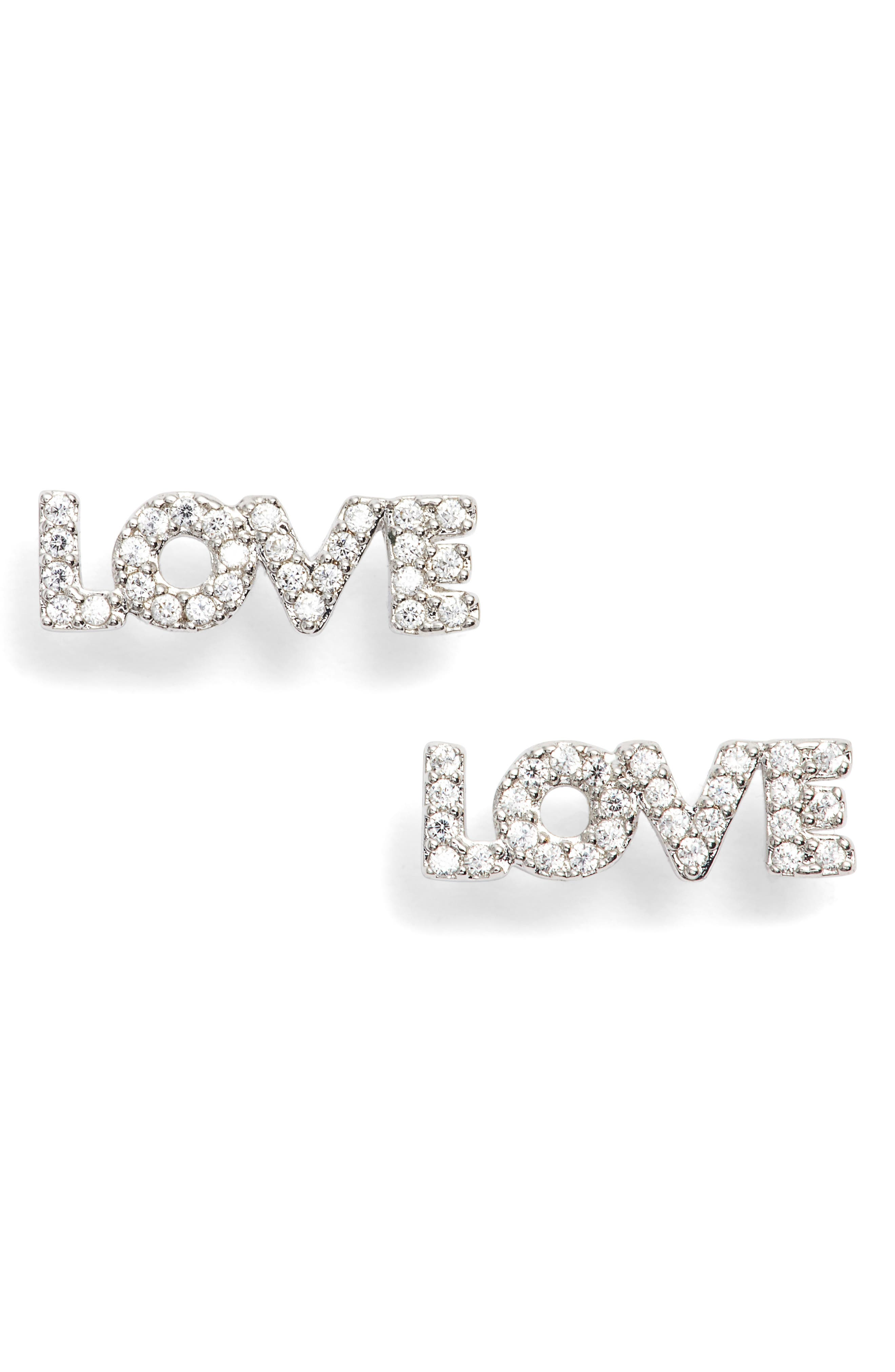 Love Earrings,                             Main thumbnail 1, color,                             Silver
