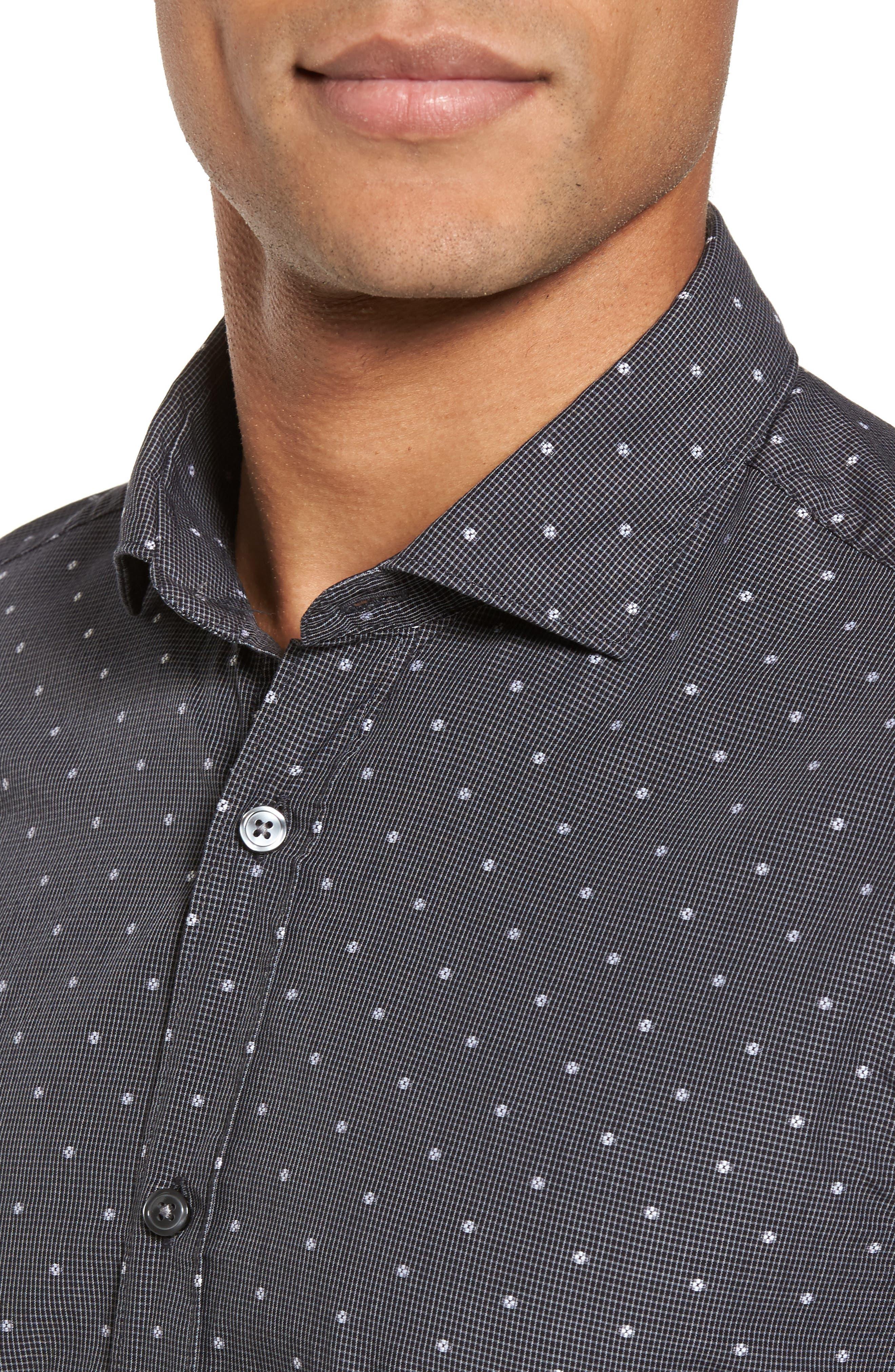 Ridley Slim Fit Dot Sport Shirt,                             Alternate thumbnail 4, color,                             Black