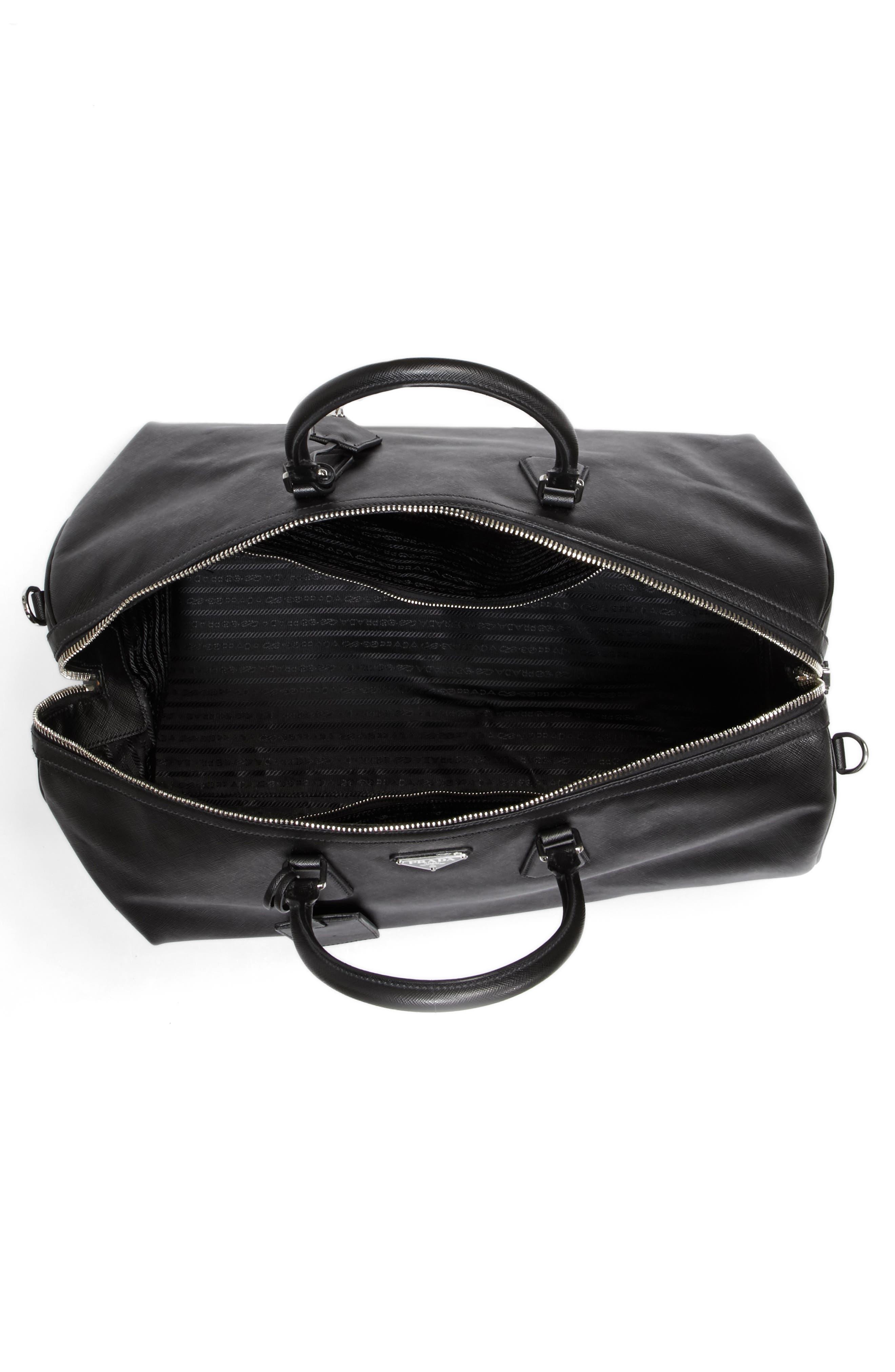 Saffiano Leather Duffel Bag,                             Alternate thumbnail 4, color,                             F0002 Nero