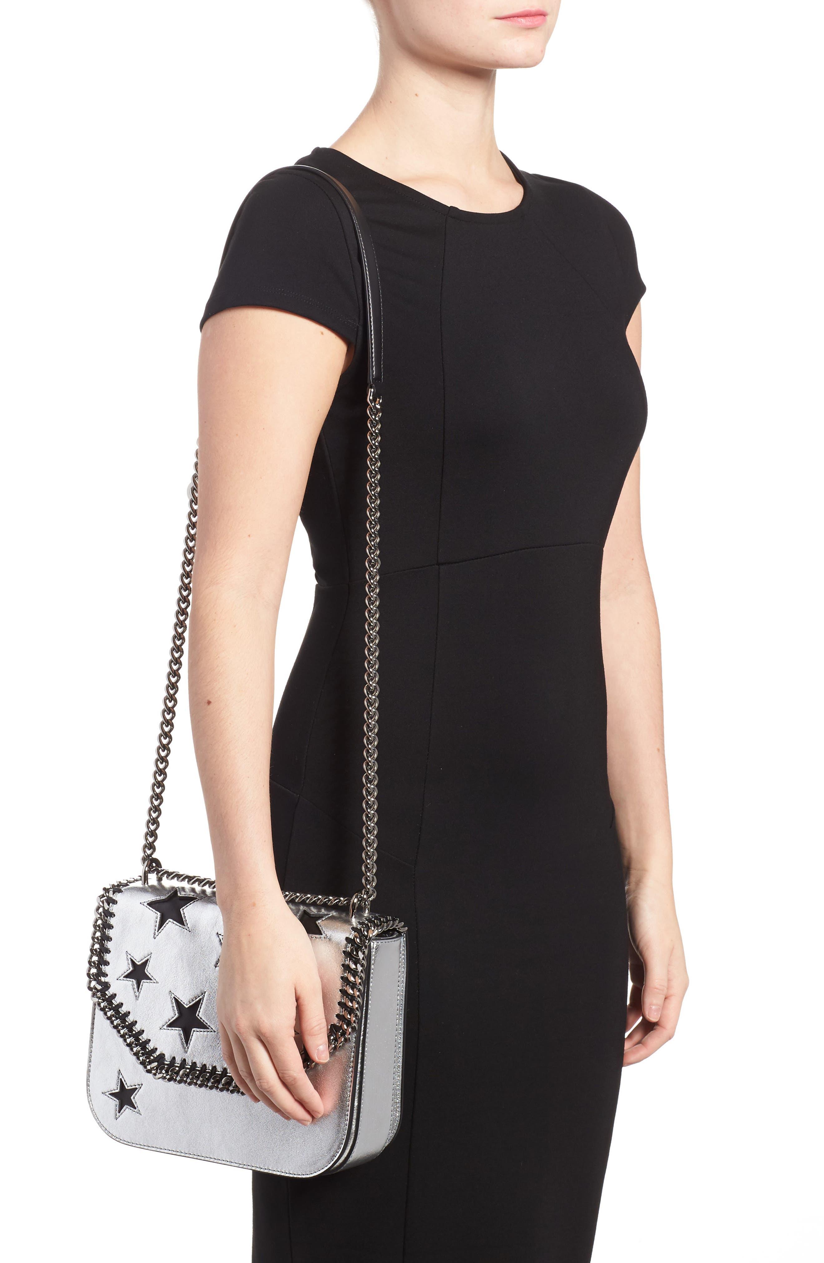 Falabella Star Cutout Metallic Faux Leather Shoulder Bag,                             Alternate thumbnail 2, color,                             Silver