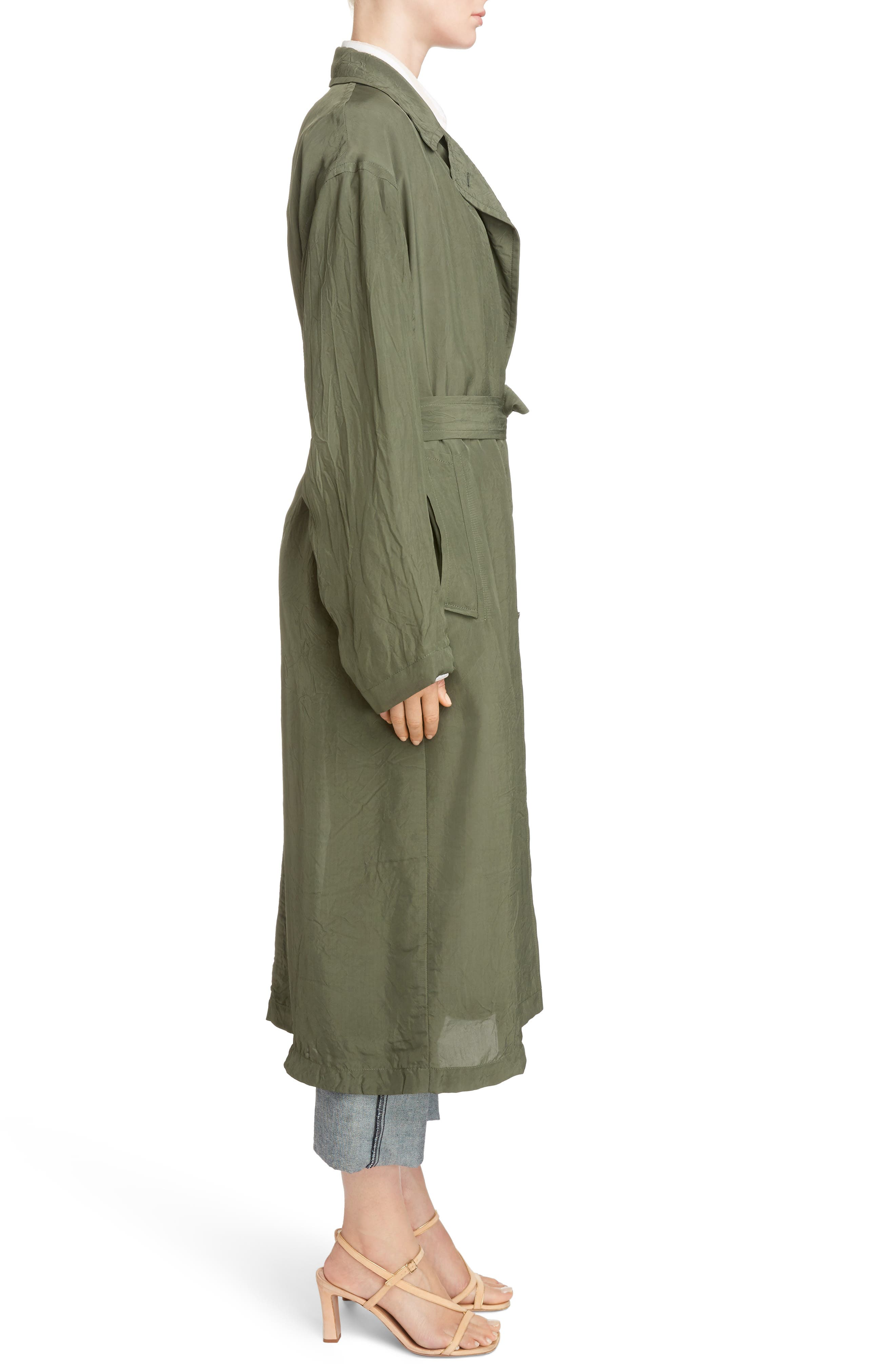 Crinkled Trench Coat,                             Alternate thumbnail 3, color,                             Green
