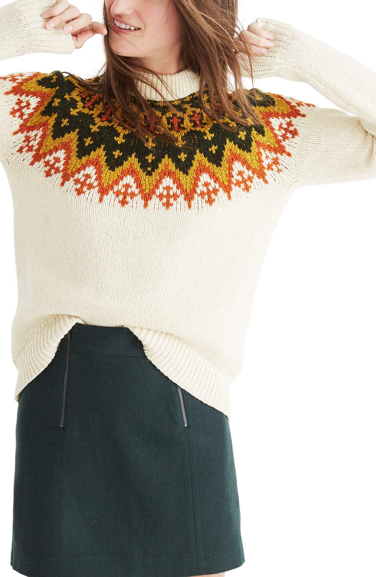 Fair Isle Sweater,                         Main,                         color, Vintage Cream
