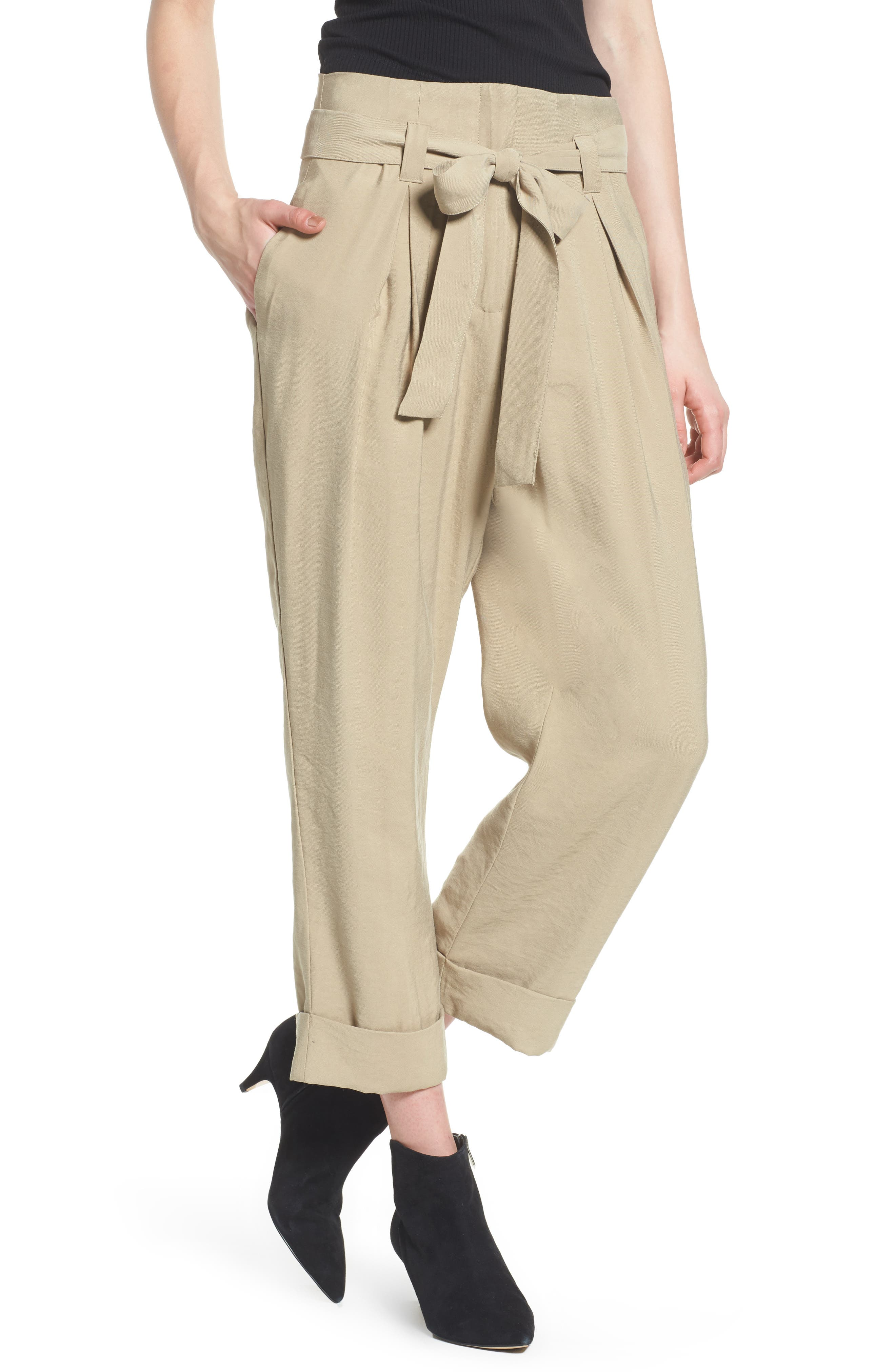 High Waist Tie Front Cropped Pants,                         Main,                         color, Latte