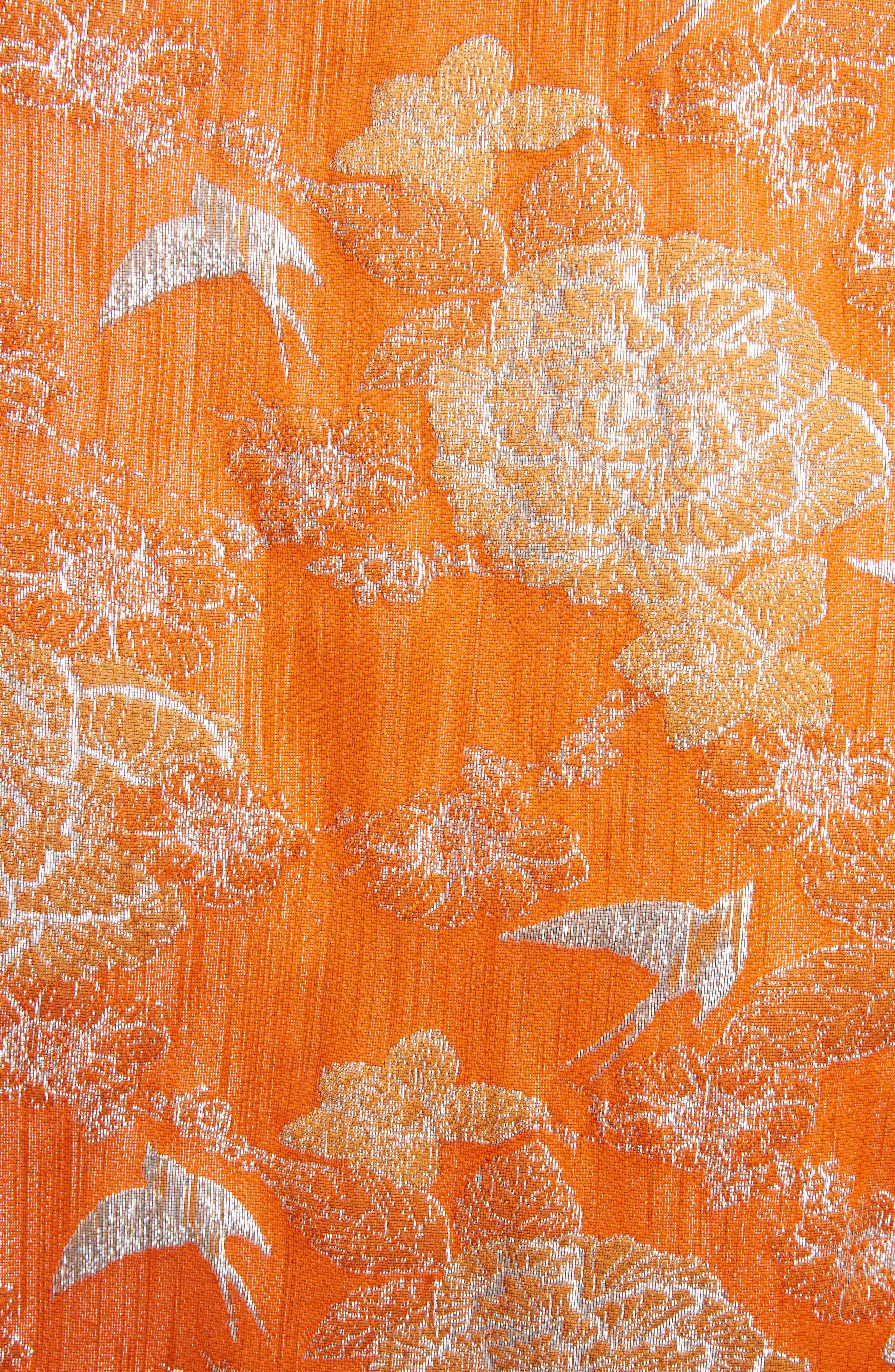 Silver Bird Jacquard Coat,                             Alternate thumbnail 5, color,                             Orange