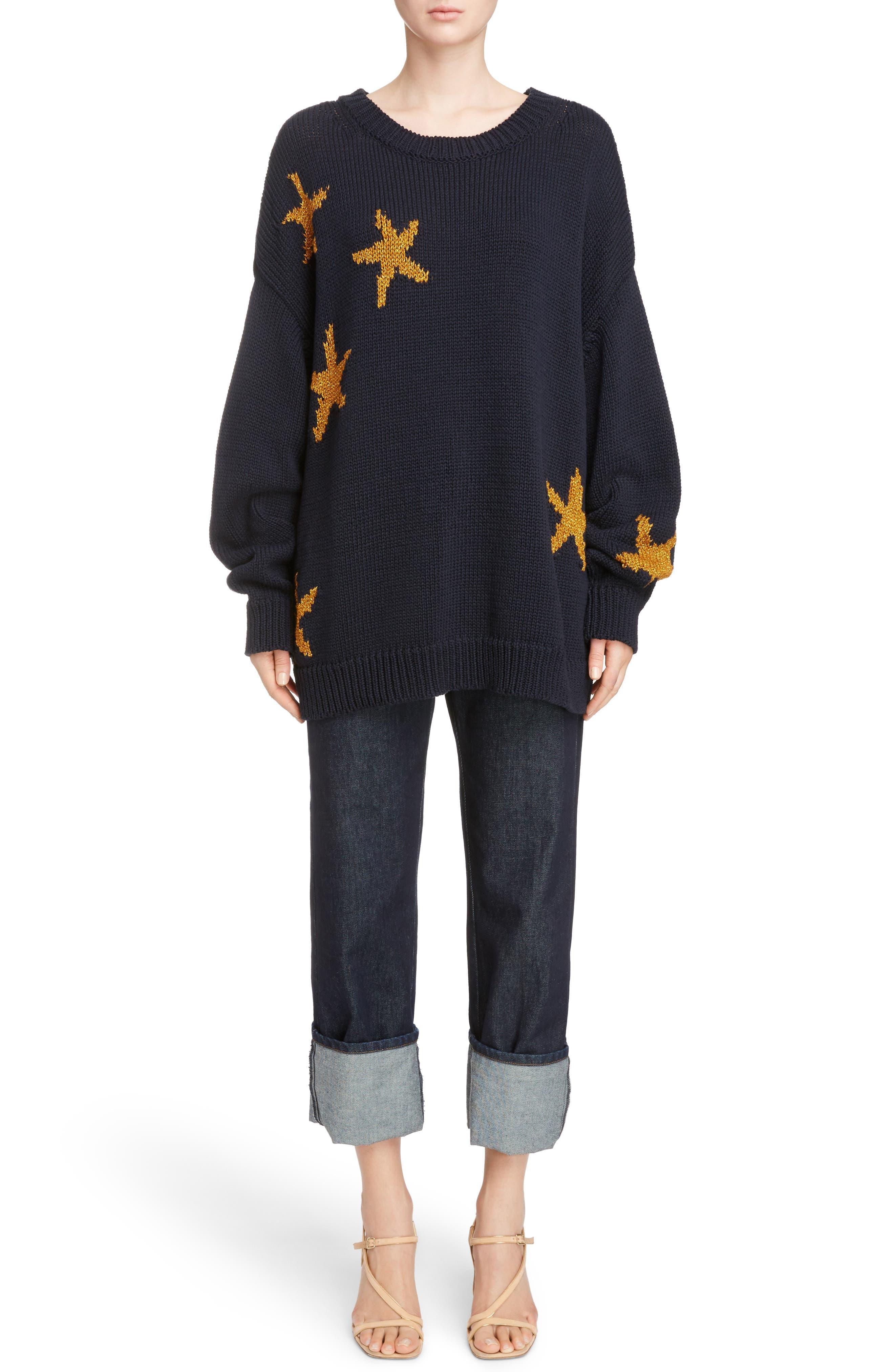 Starfish Intarsia Sweater,                             Alternate thumbnail 2, color,                             Navy
