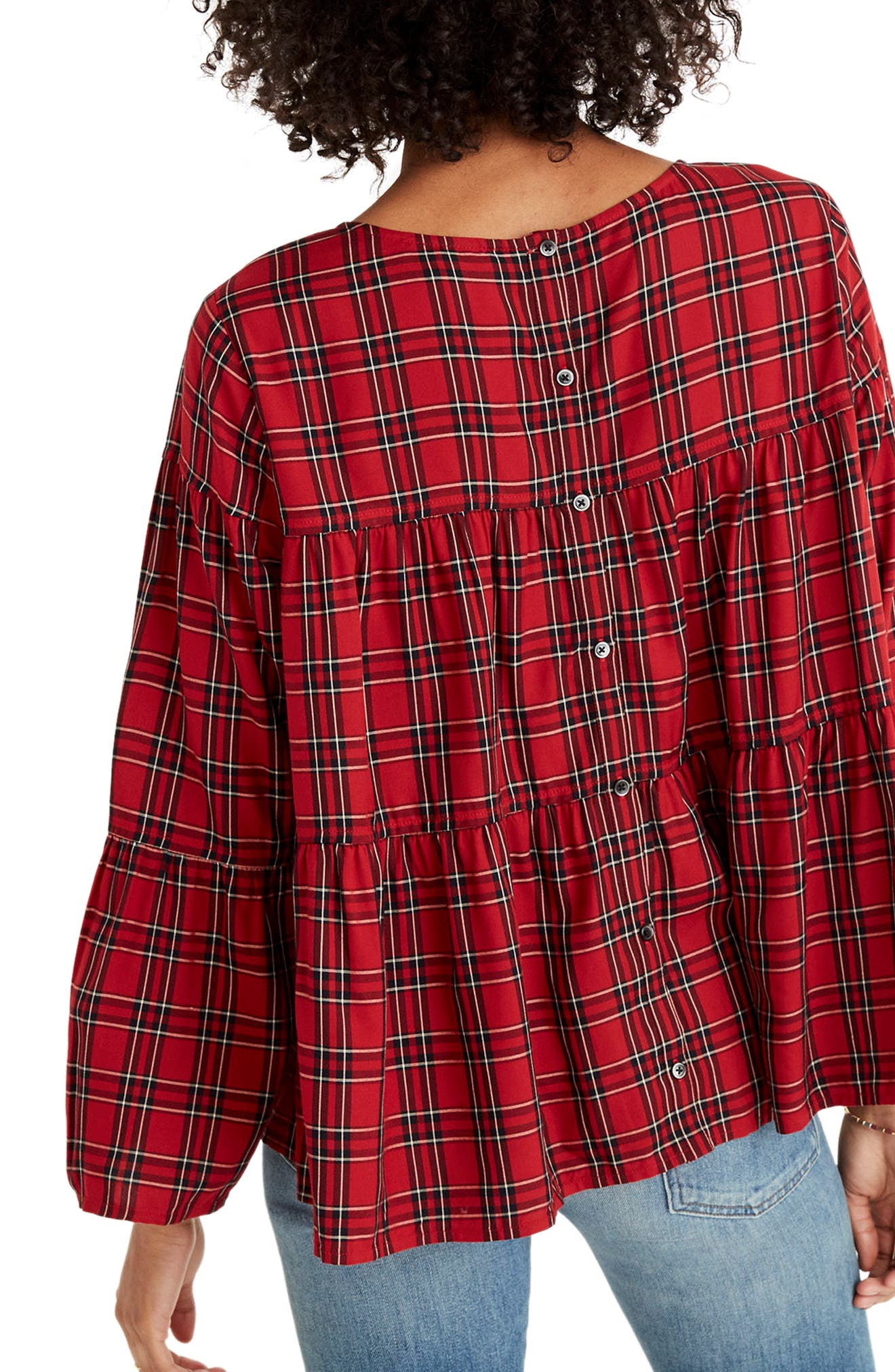 Plaid Tiered Button Back Top,                             Alternate thumbnail 2, color,                             True Red