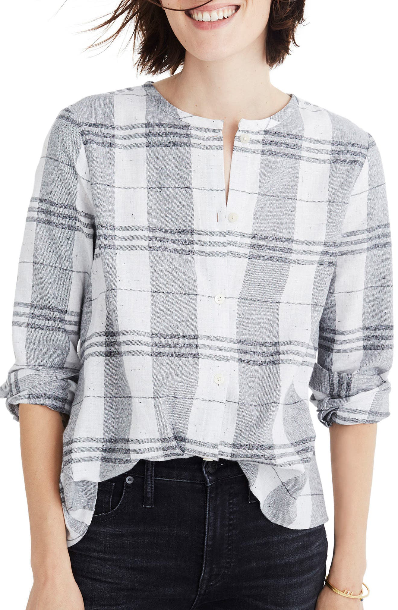 Plaid Collarless Button Down Shirt,                             Main thumbnail 1, color,                             Quarter Bright Ivory