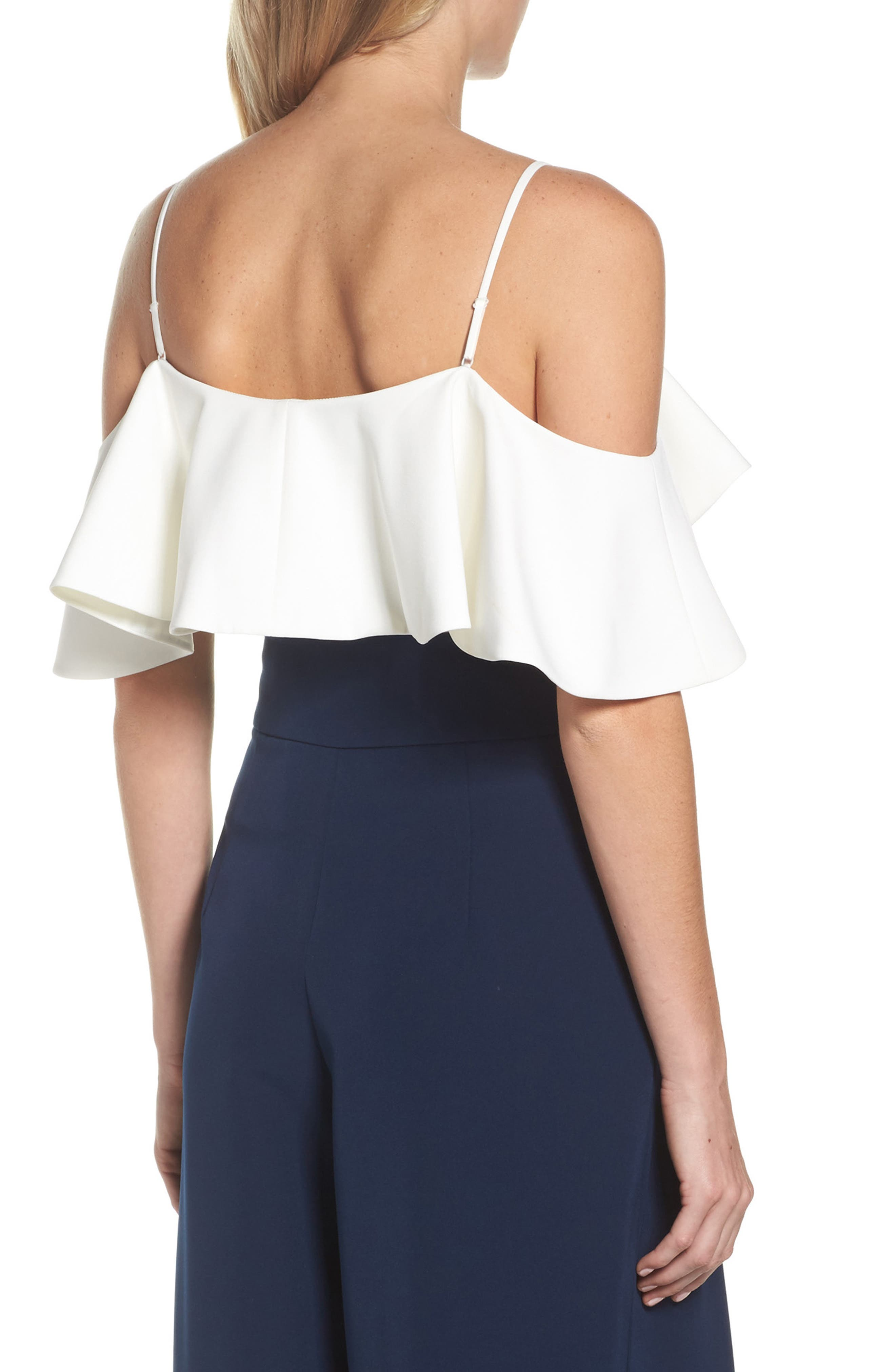 Ruffled Cold Shoulder Top,                             Alternate thumbnail 6, color,                             Ivory