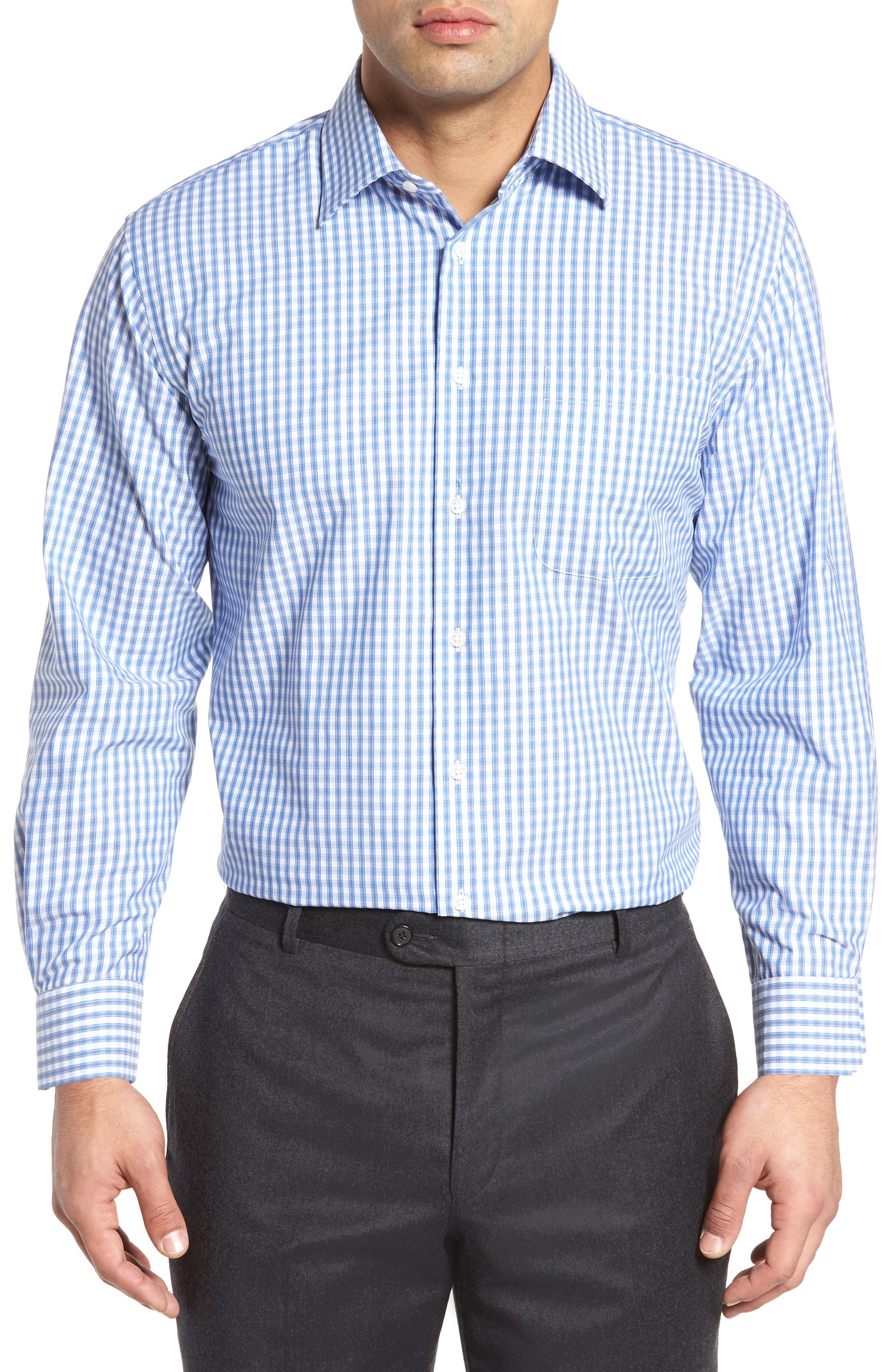 Traditional Fit Non-Iron Check Dress Shirt,                         Main,                         color, Blue Marine