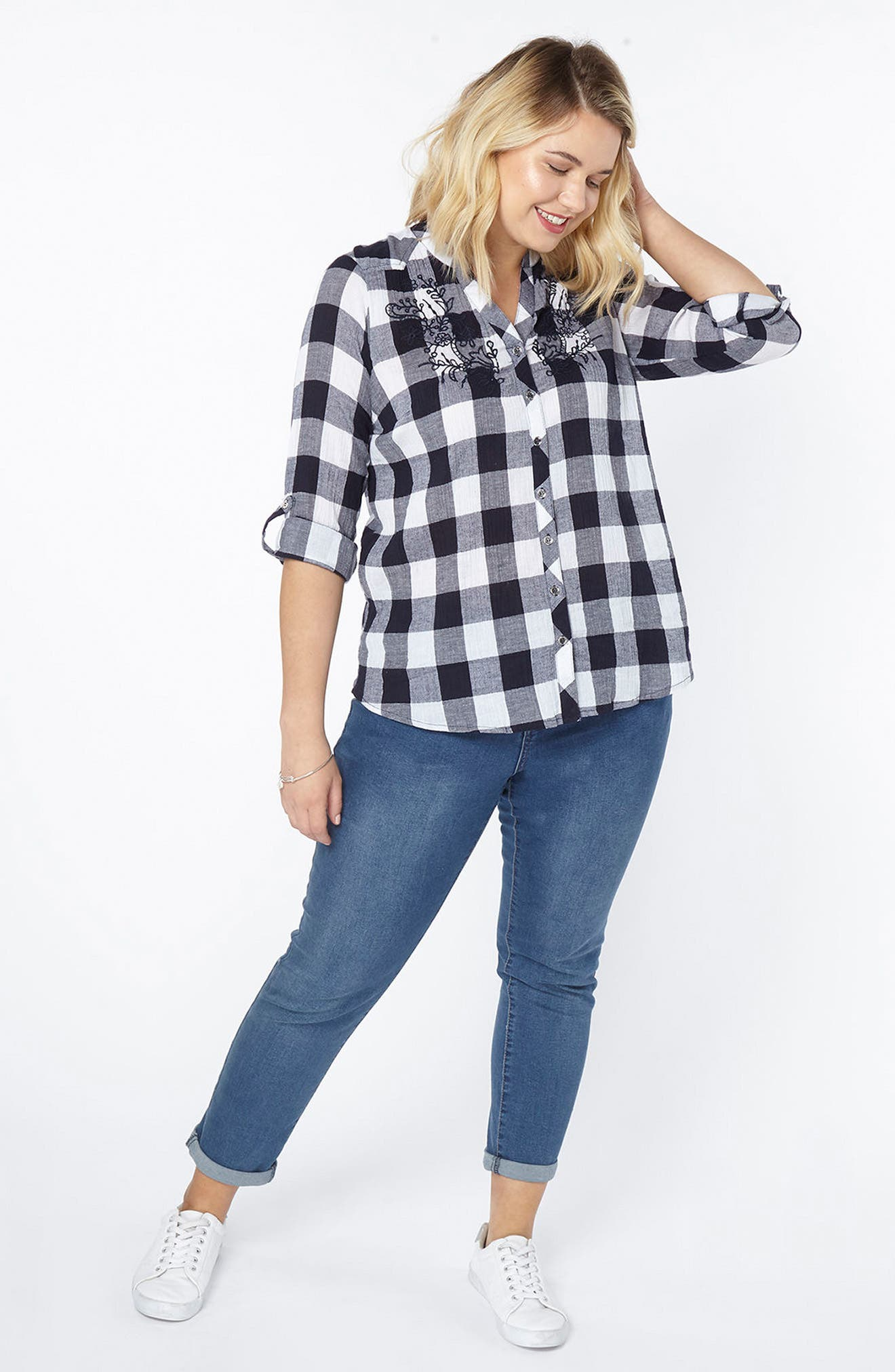 Gingham Embroidered Shirt,                             Alternate thumbnail 2, color,                             Navy/ White