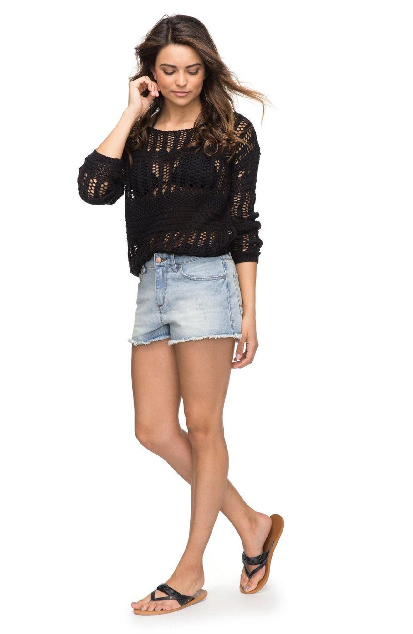 Alternate Image 2  - Roxy Little Abaco Cutoff Denim Shorts