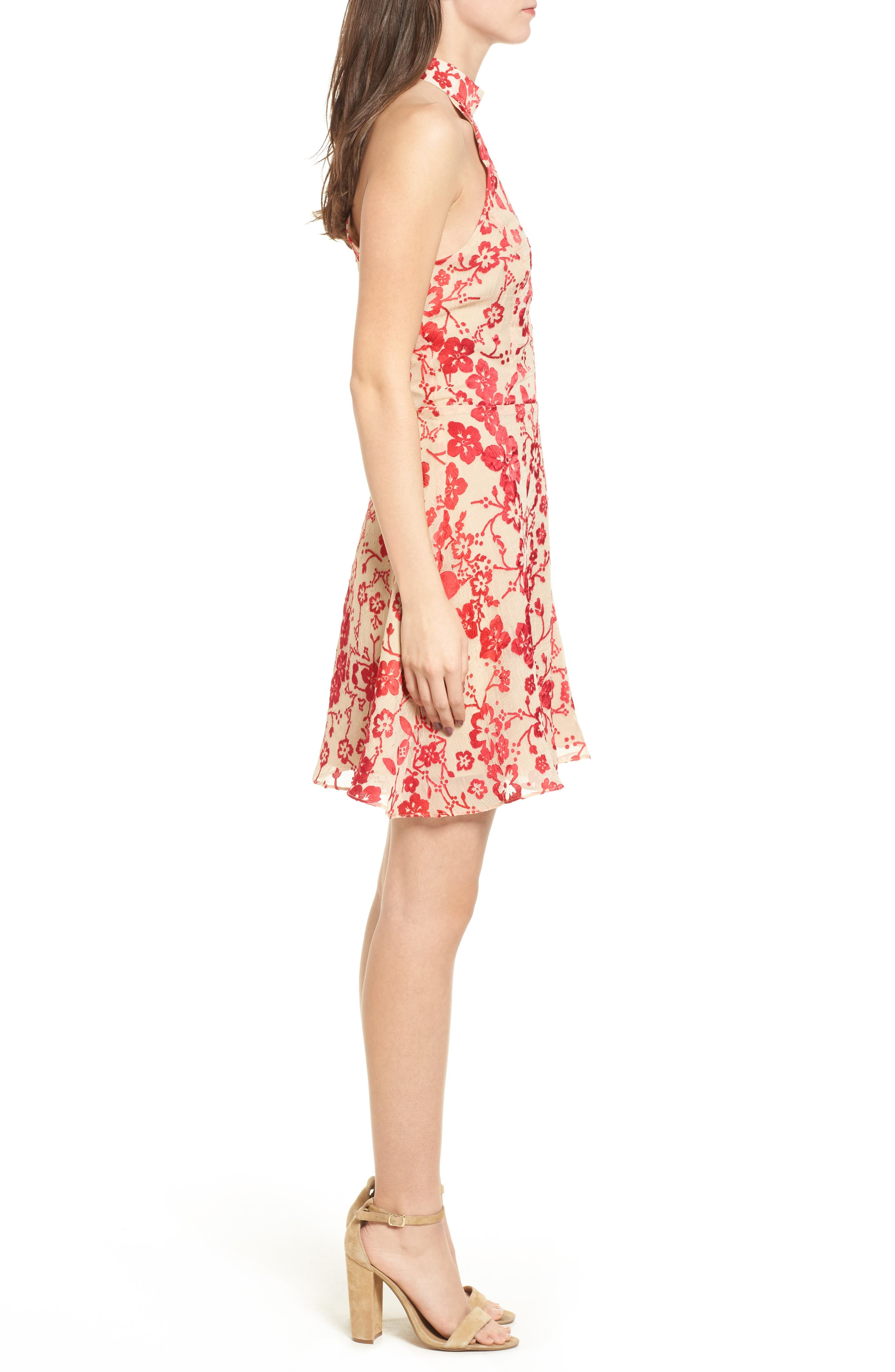 Maryanne Fit & Flare Dress,                             Alternate thumbnail 3, color,                             Ruby Punch