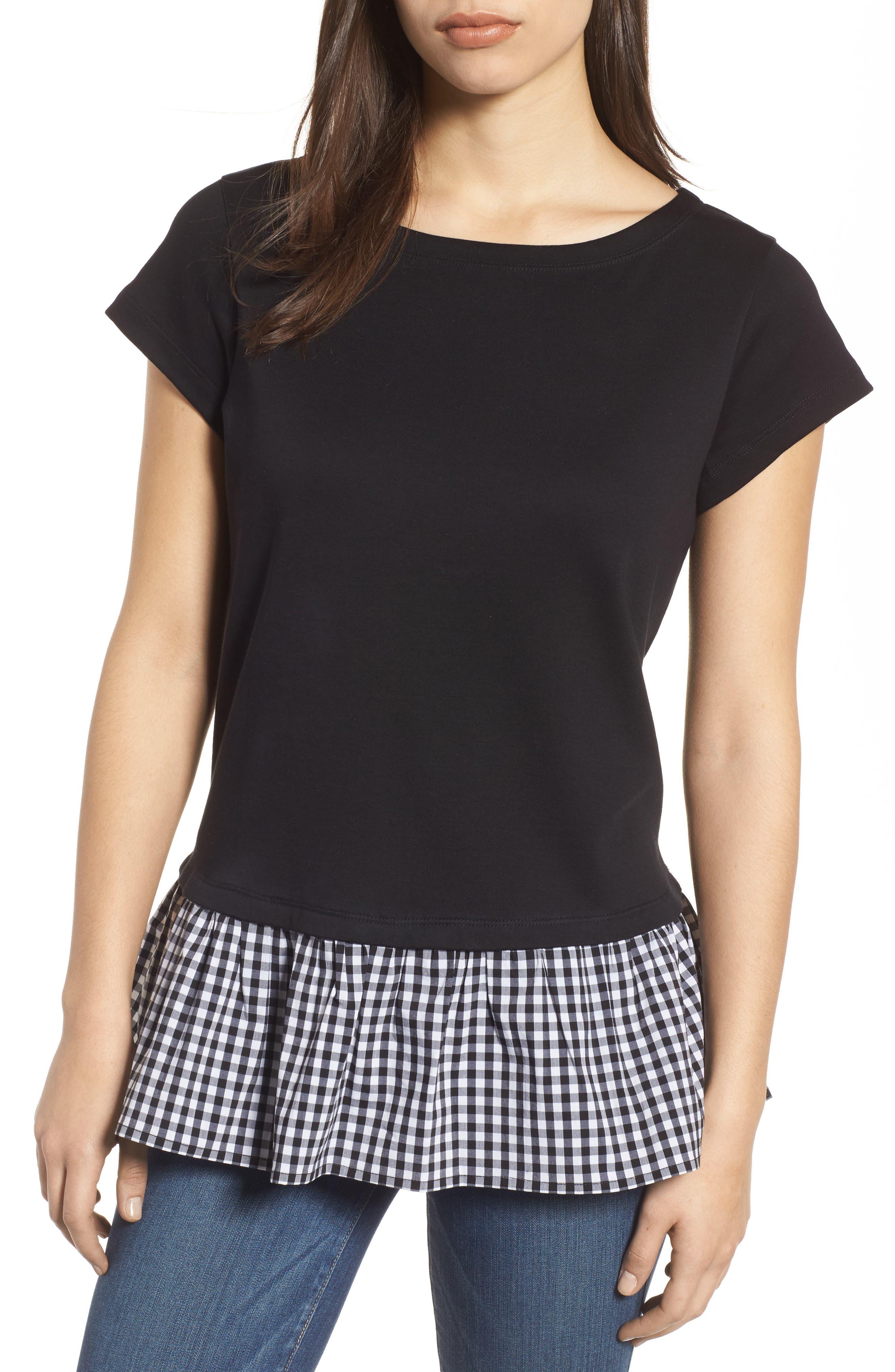 Ruffle Hem Poplin Top,                         Main,                         color, Black
