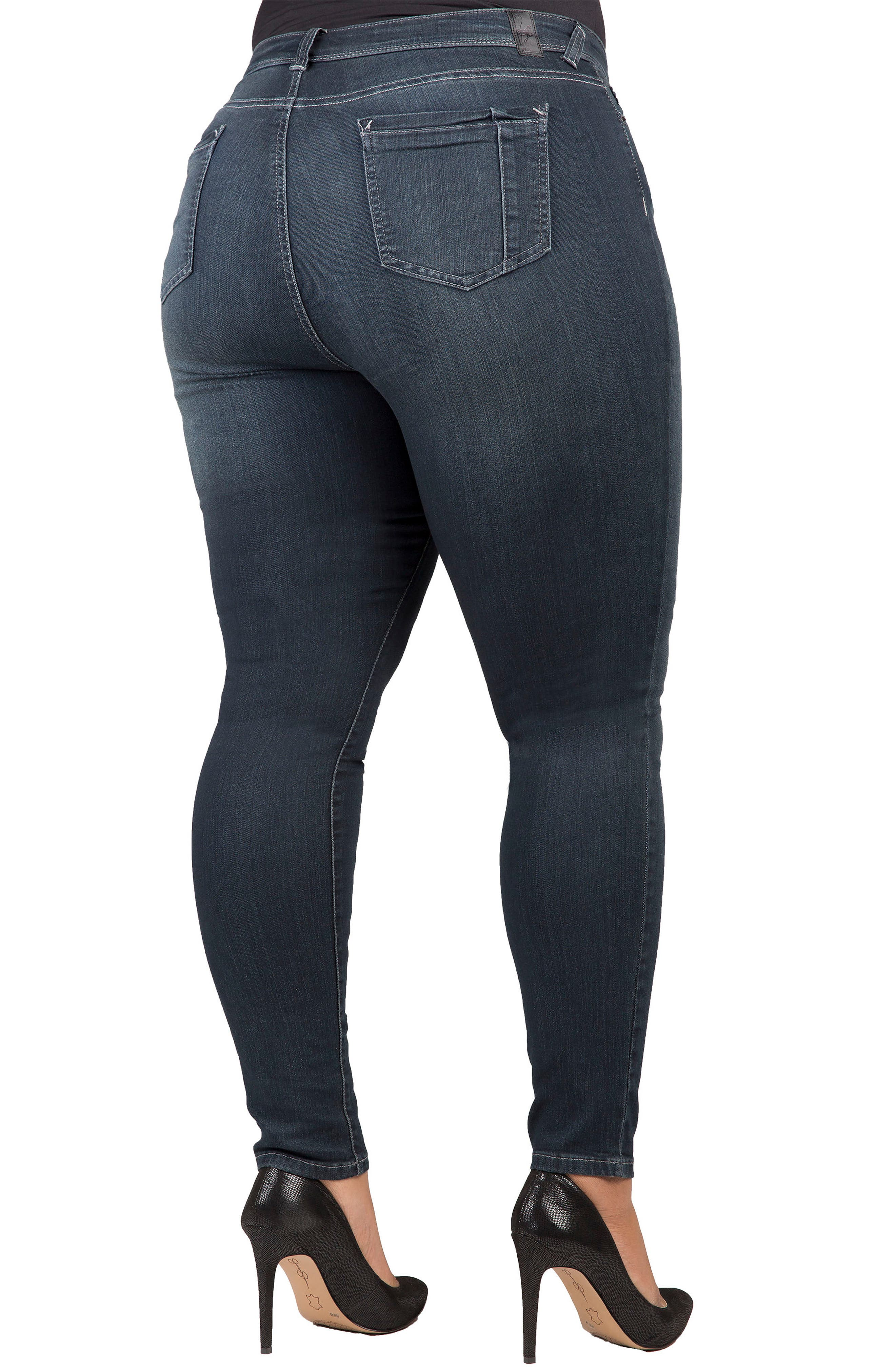 Alternate Image 2  - Poetic Justice 'Maya' Stretch Skinny Jeans (Dark Blue) (Plus Size)