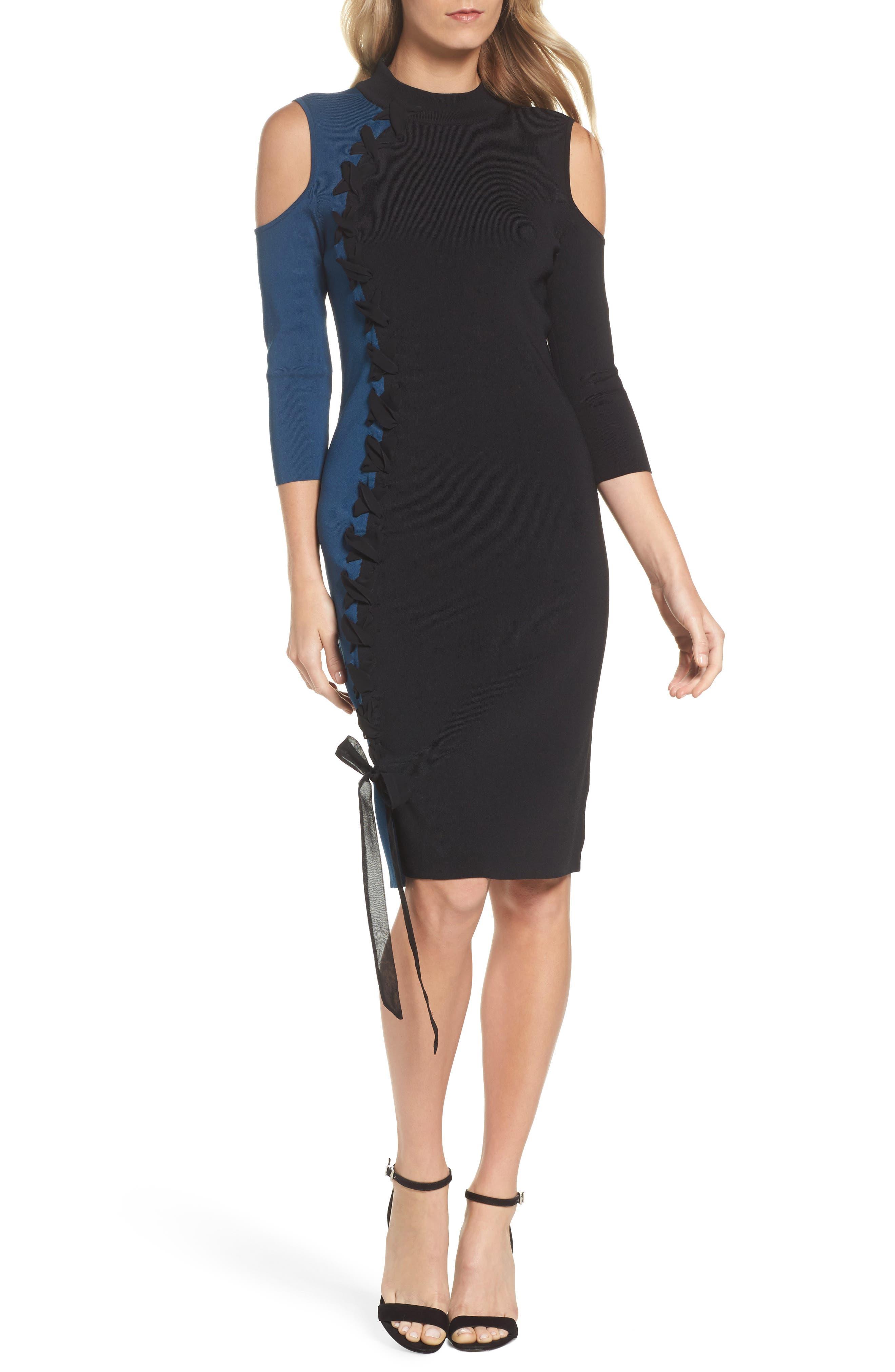 Swirl Cold Shoulder Dress,                         Main,                         color, Multi