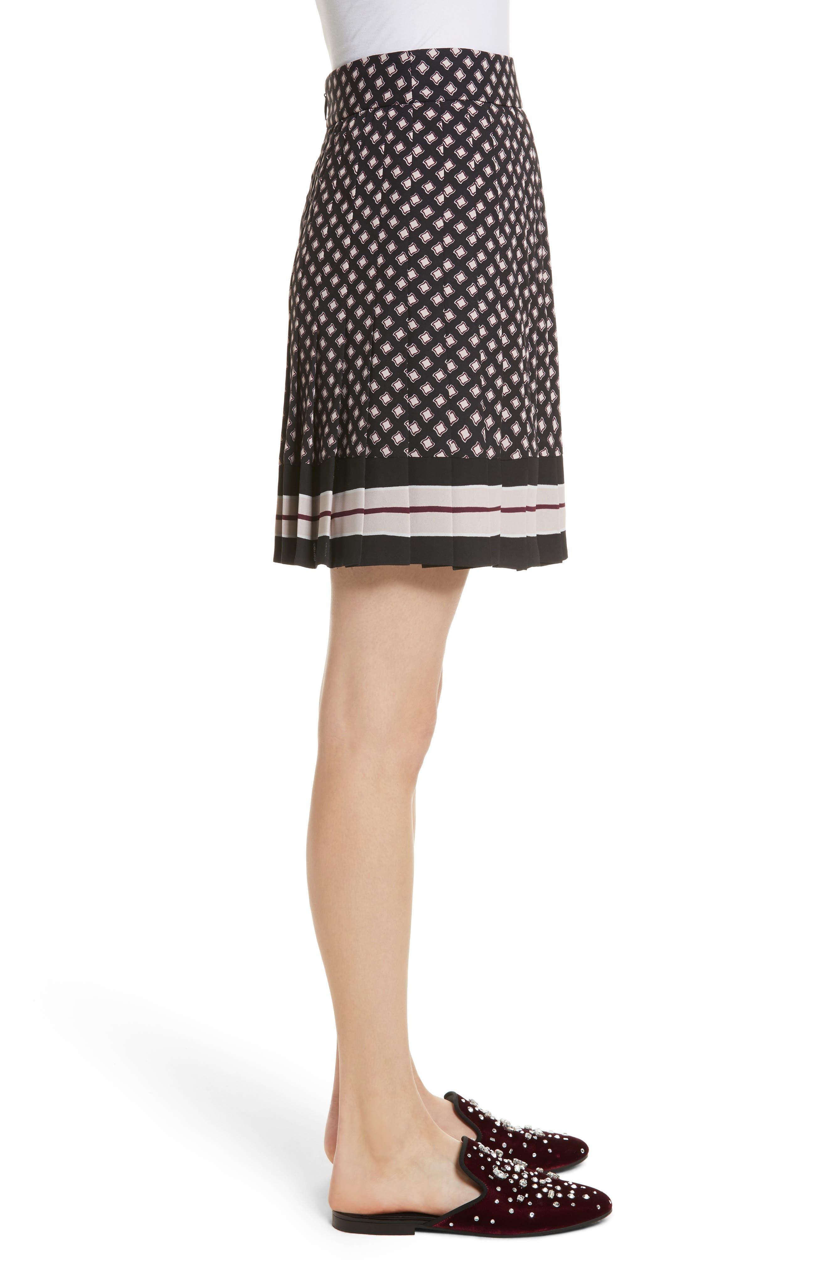 pleated skirt,                             Alternate thumbnail 3, color,                             Black
