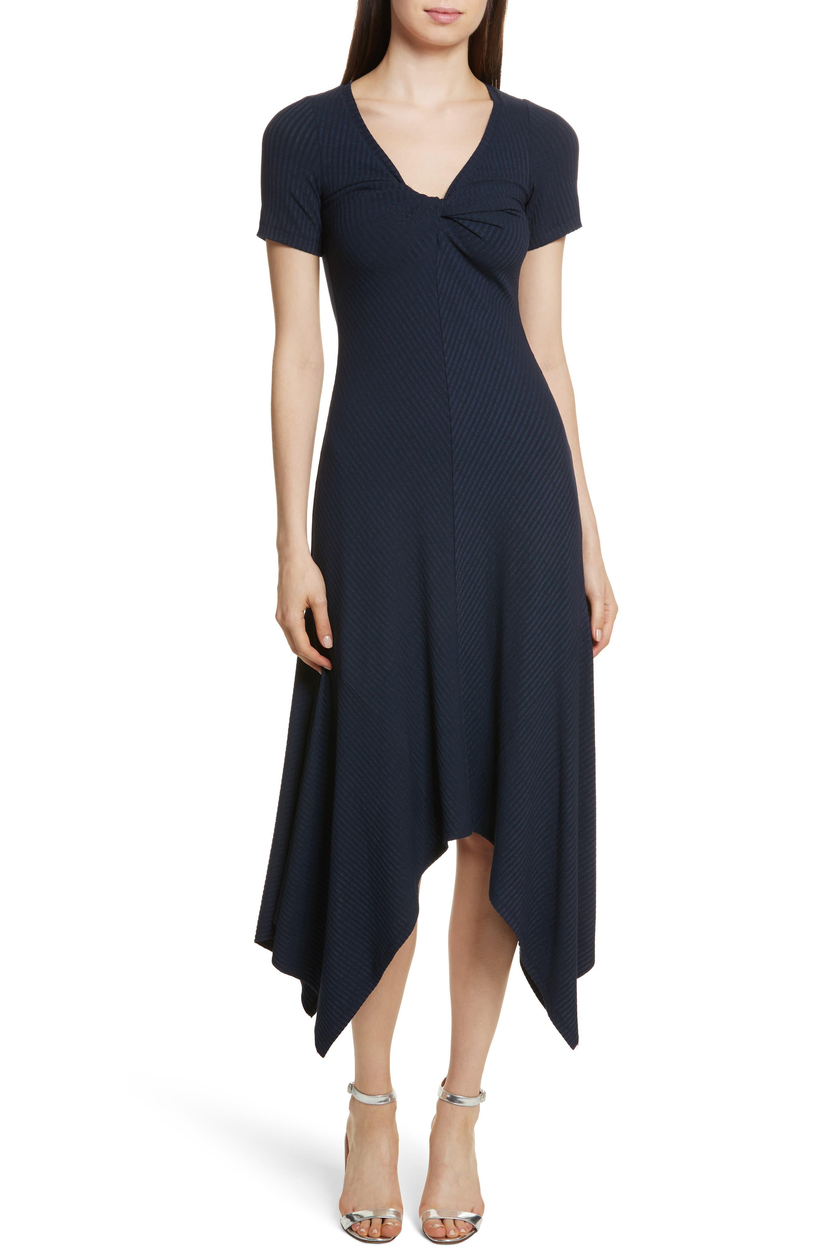 Knotted Rib Knit Midi Dress,                         Main,                         color, Navy
