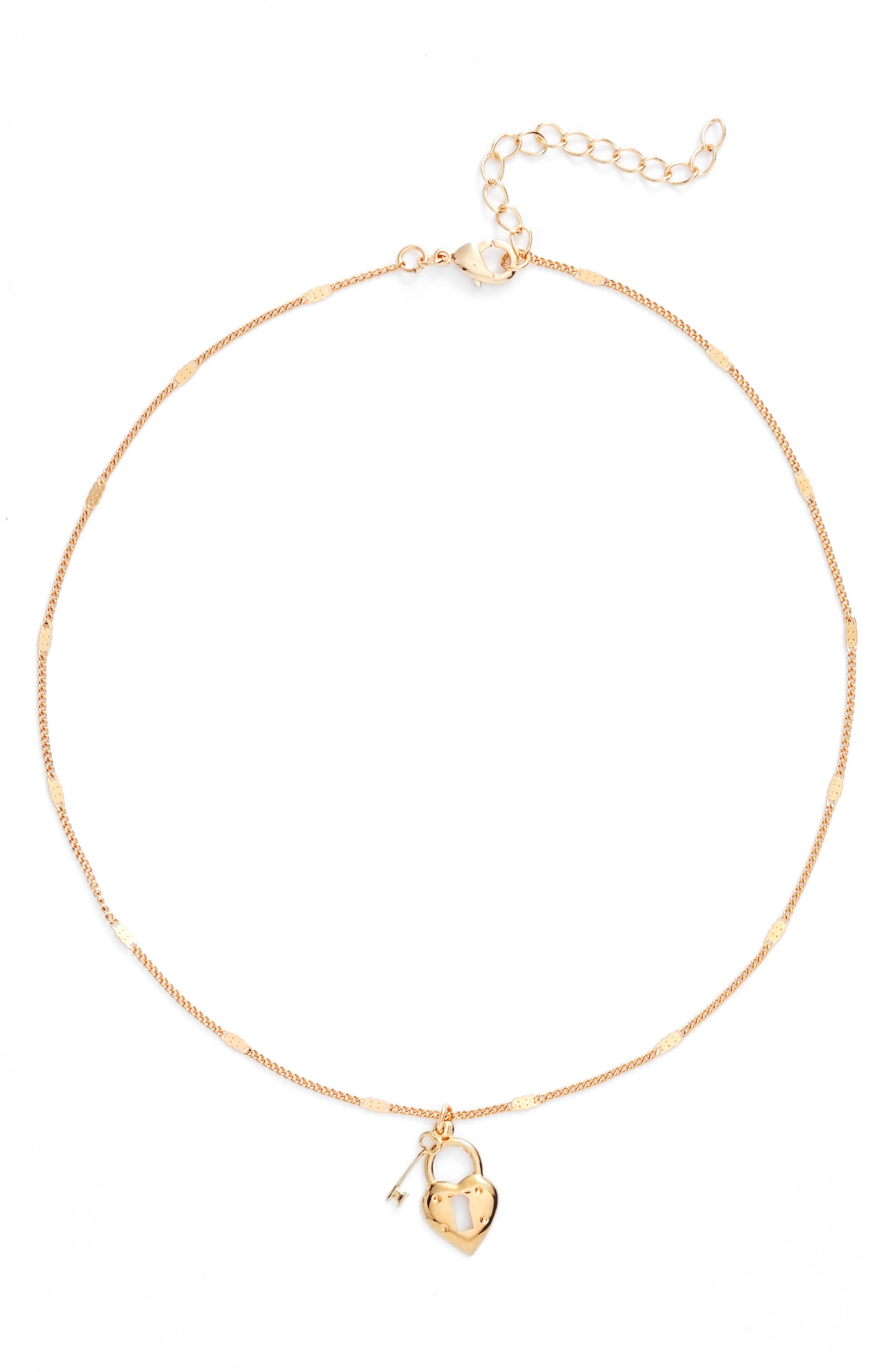 Key to My Heart Choker,                         Main,                         color, Gold